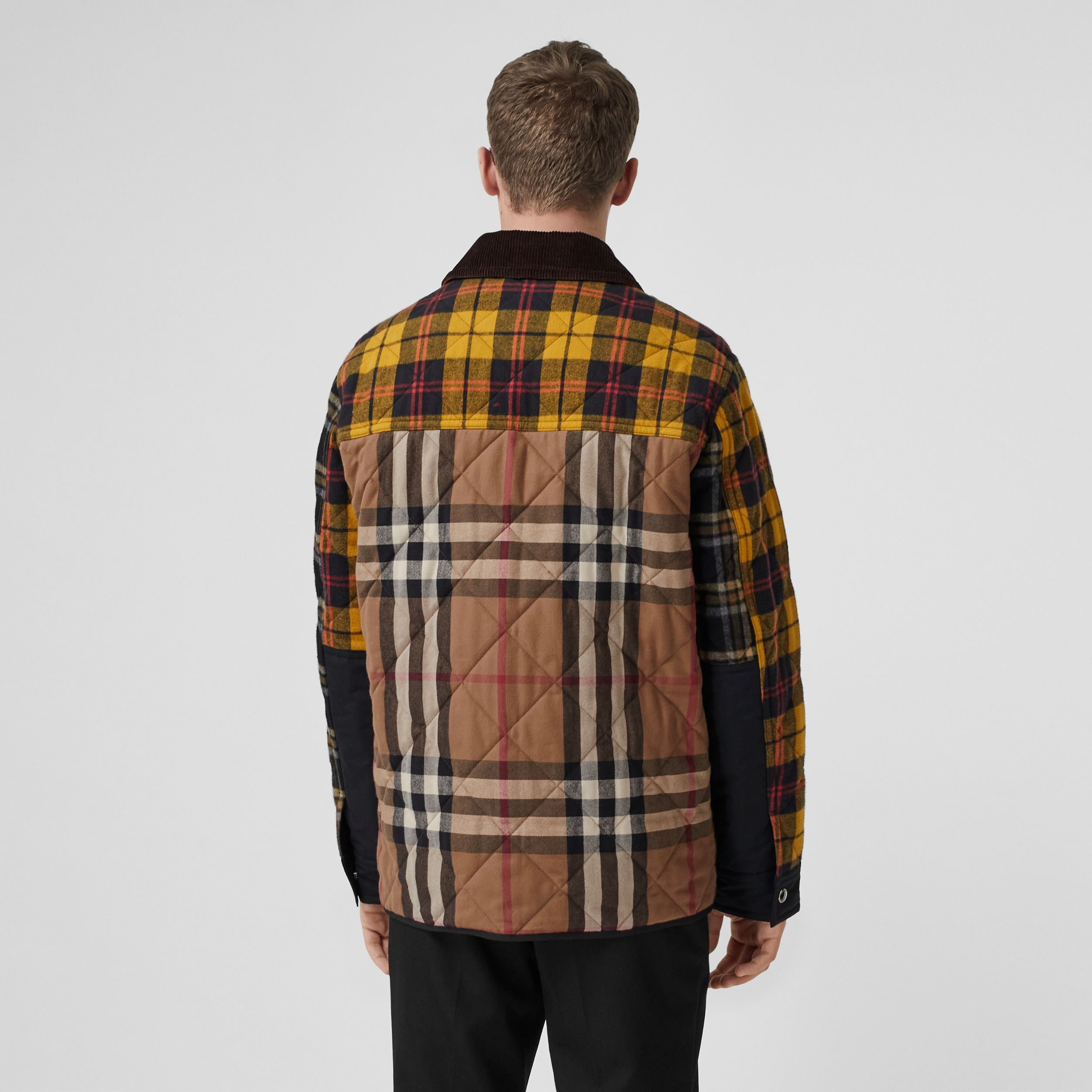 Corduroy Collar Patchwork Check Cotton Overshirt in Birch Brown - Men | Burberry United Kingdom - 3