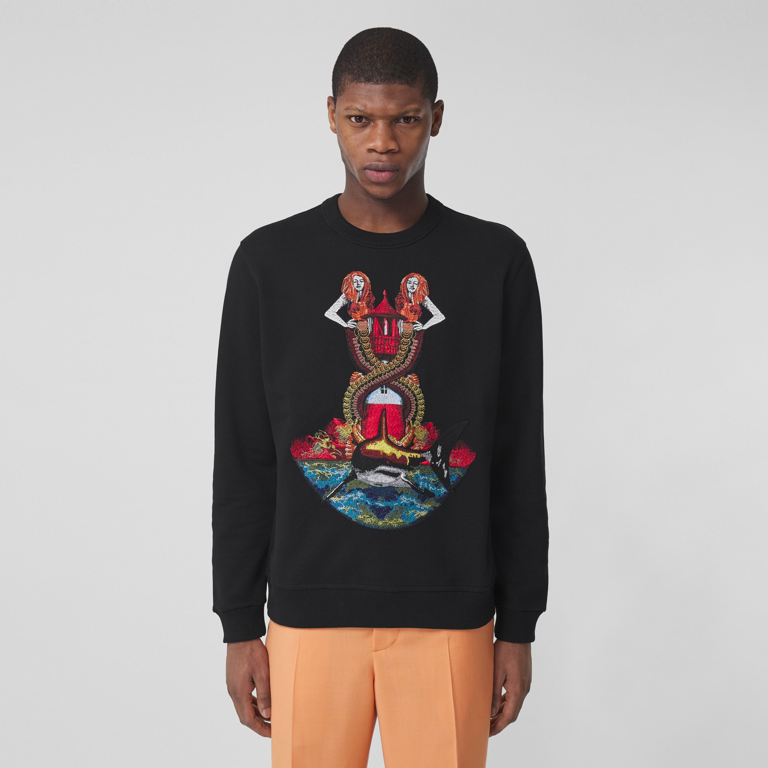 Mermaid Print Cotton Sweatshirt in Black - Men | Burberry - 1