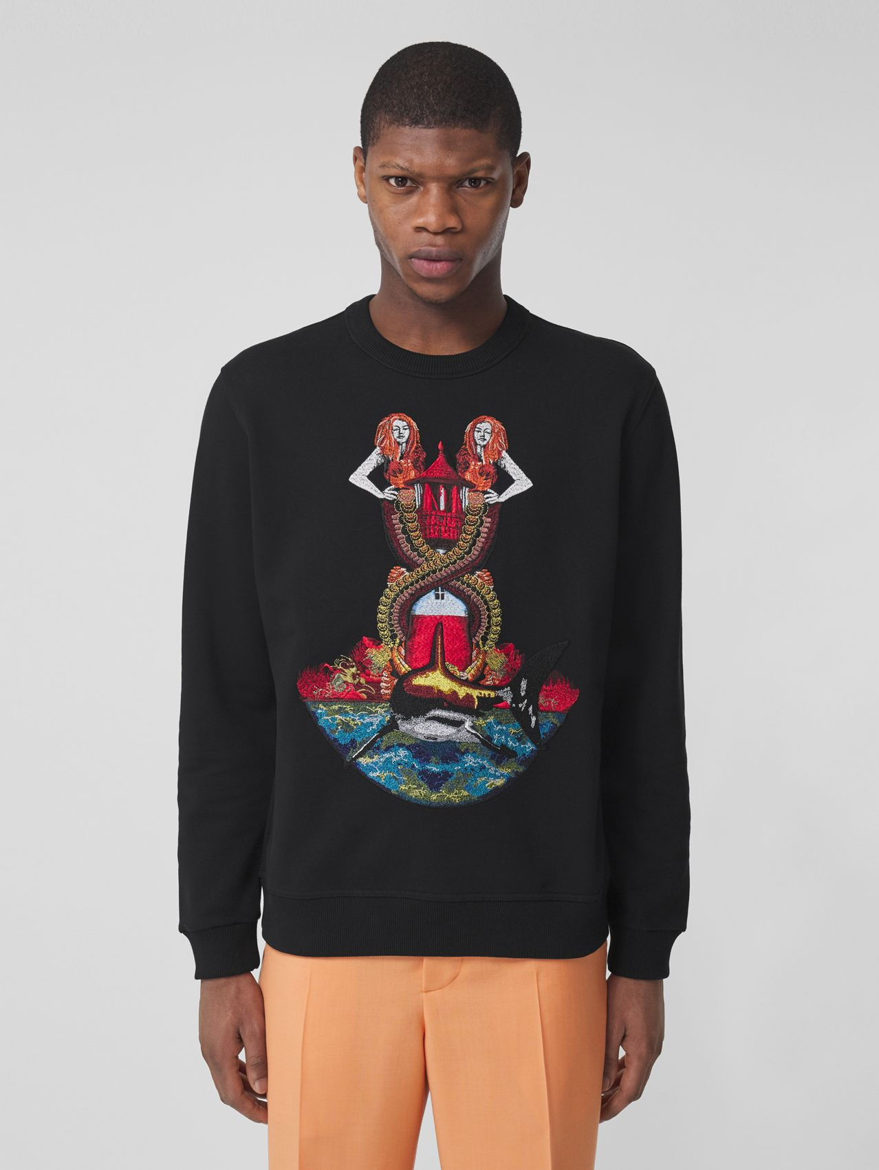 Mermaid Print Cotton Sweatshirt in Black