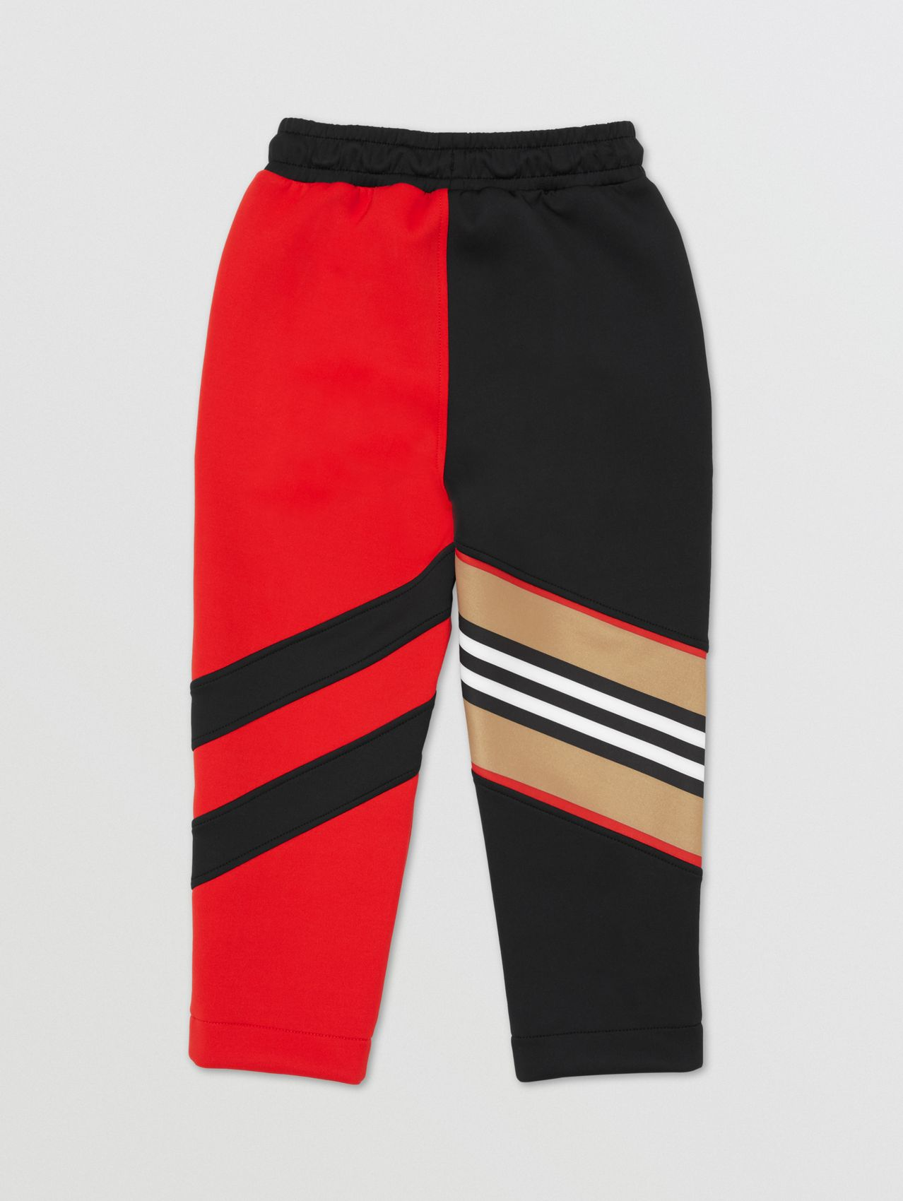 Icon Stripe Detail Stretch Jersey Jogging Pants in Bright Red