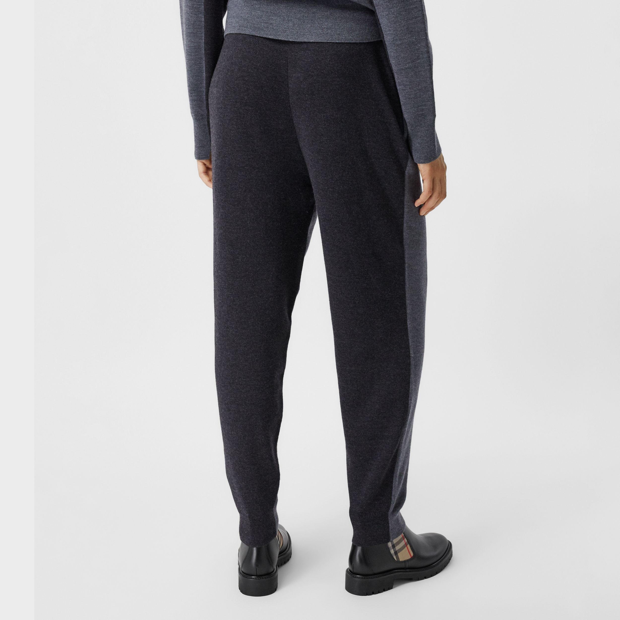Two-tone Merino Wool Drawcord Jogging Pants in Charcoal Melange - Women | Burberry - 3