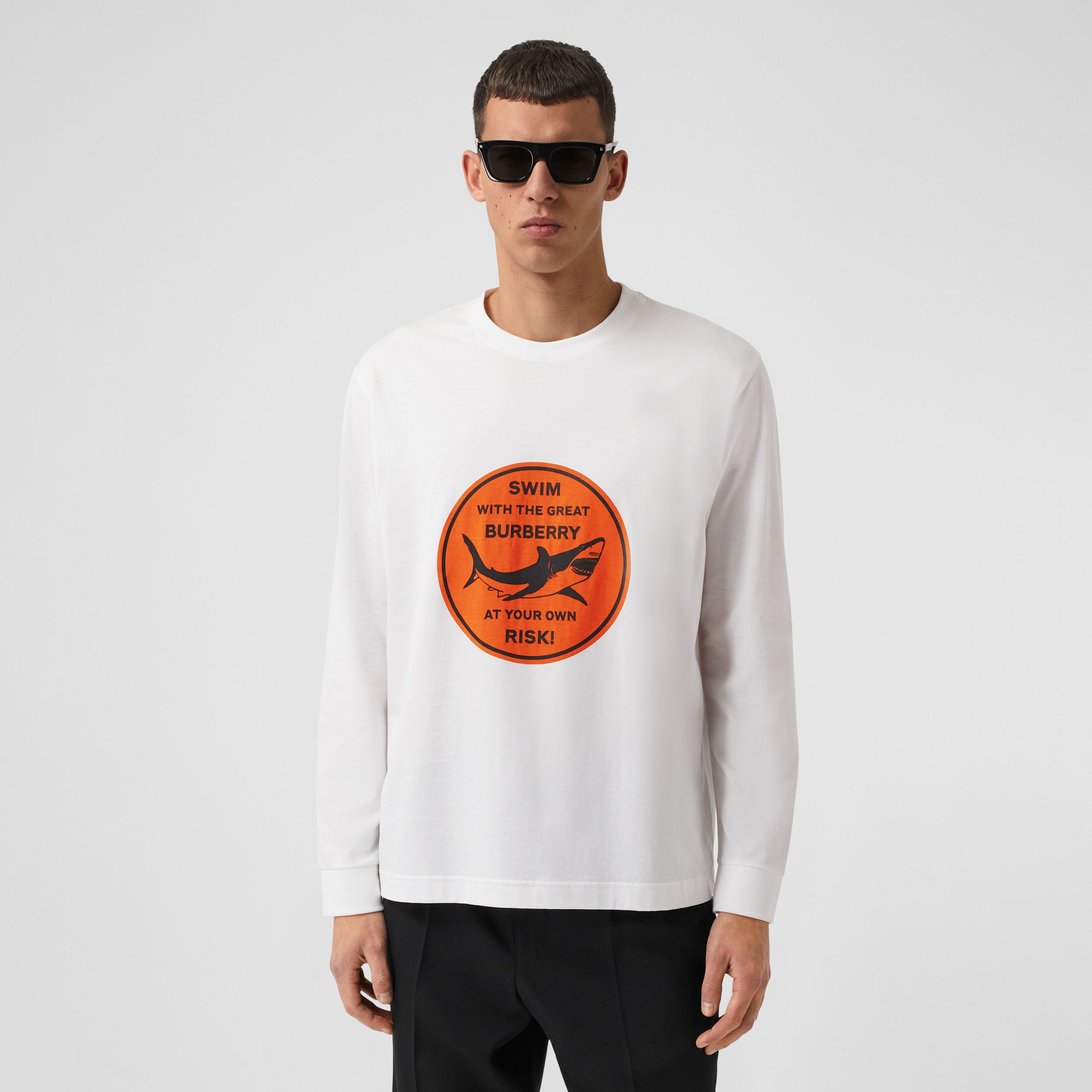 Long-sleeve Shark Graphic Cotton Top in White - Men | Burberry - 1