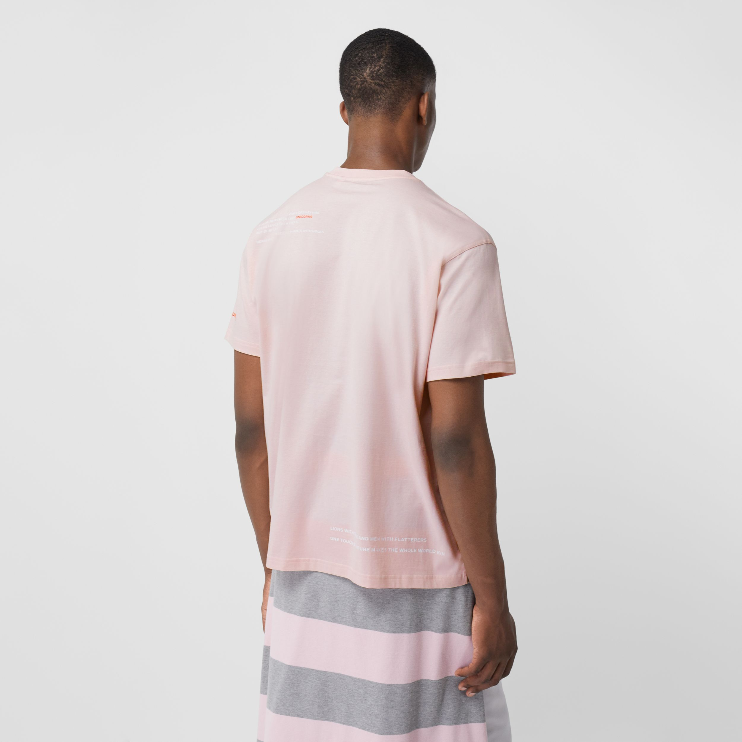 Montage Print Cotton Oversized T-shirt in Alabaster Pink - Men | Burberry - 3