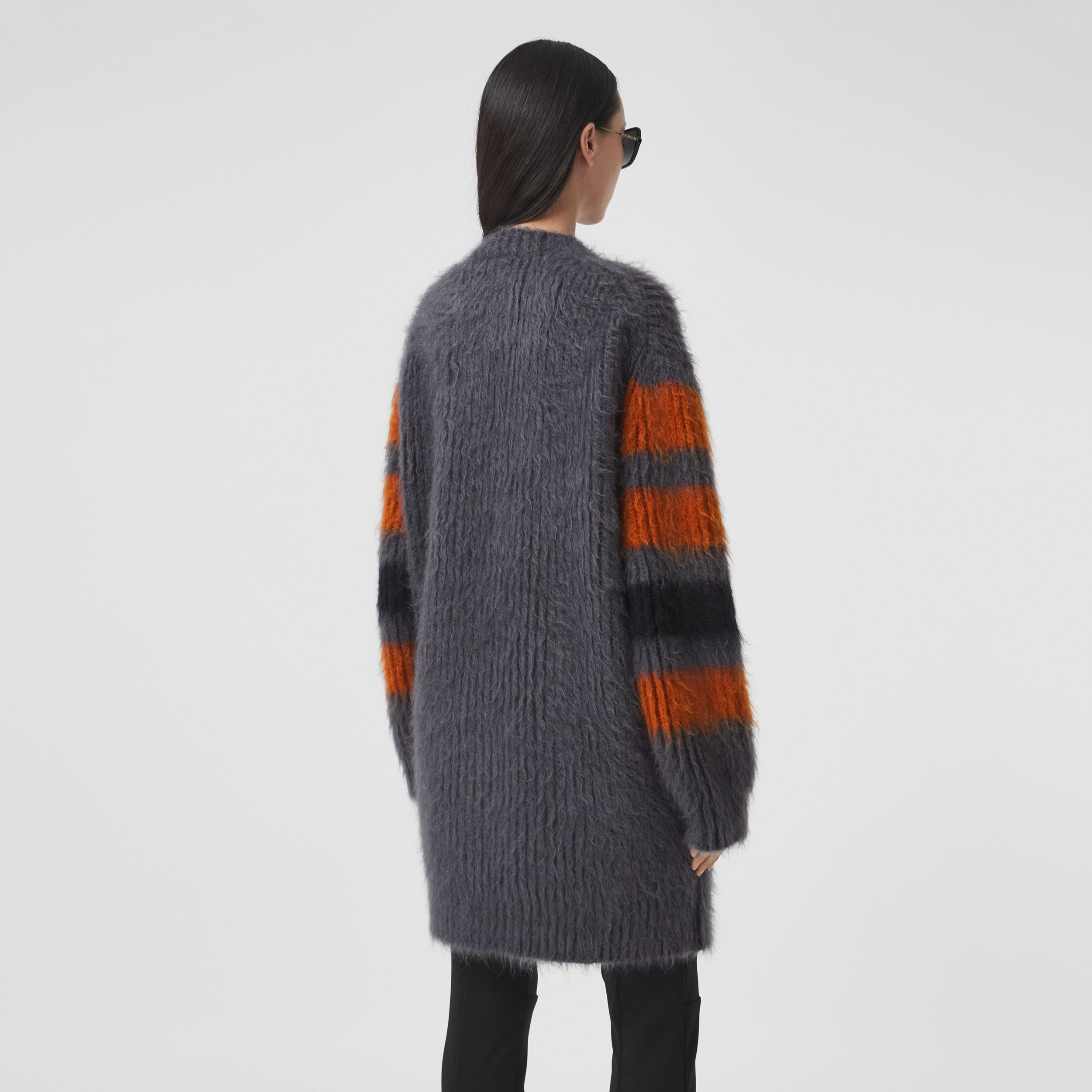 Stripe Intarsia Mohair Silk Oversized Sweater in Dark Grey Melange - Women | Burberry - 3