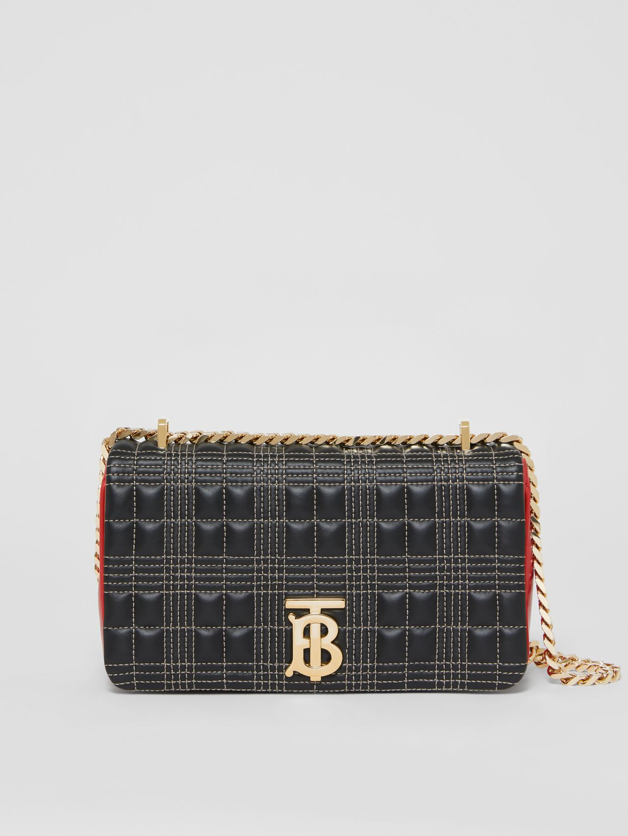 Small Quilted Tri-tone Lambskin Lola Bag in Black/bright Red