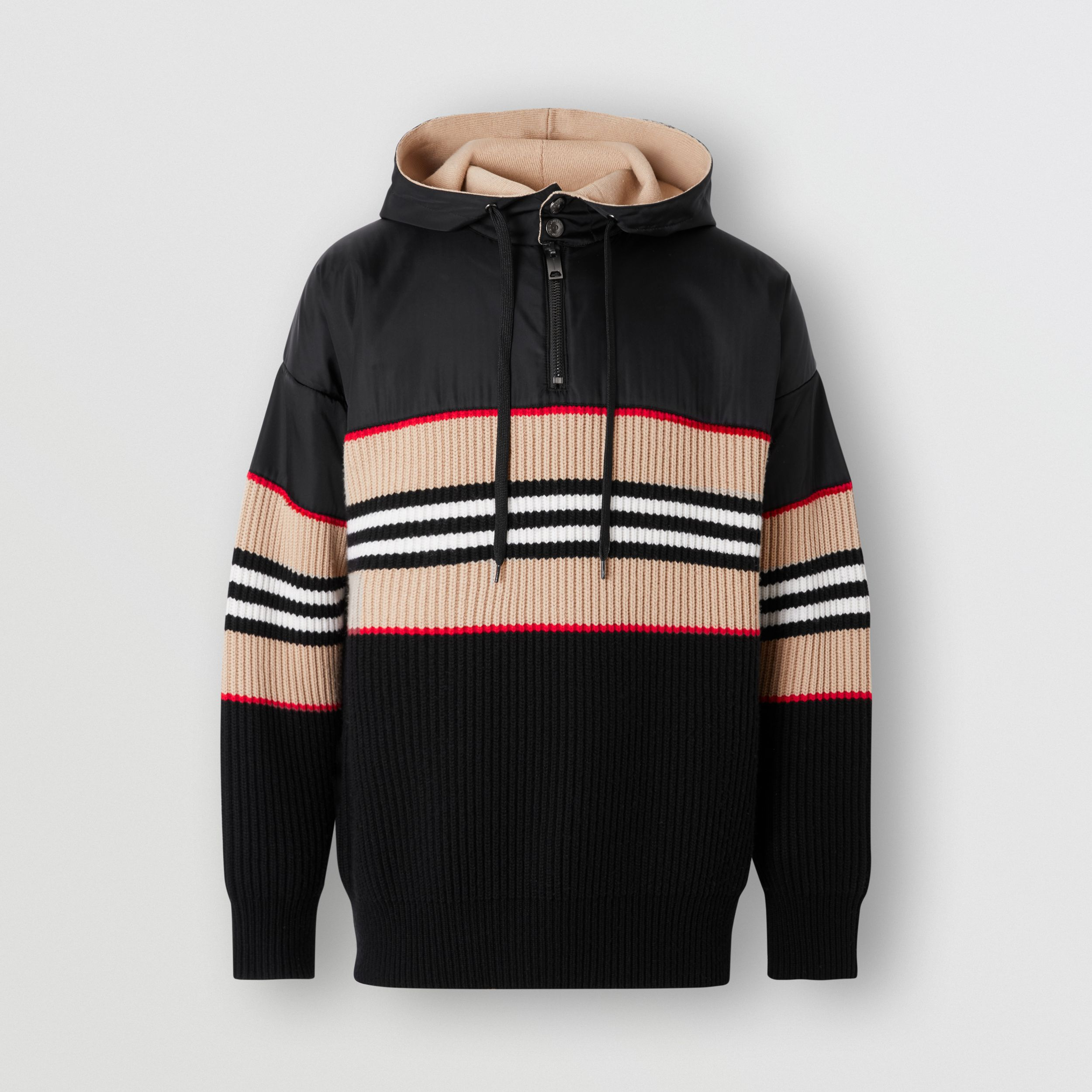 Icon Stripe Rib Knit Wool Cashmere Hoodie - Men | Burberry Singapore - 4