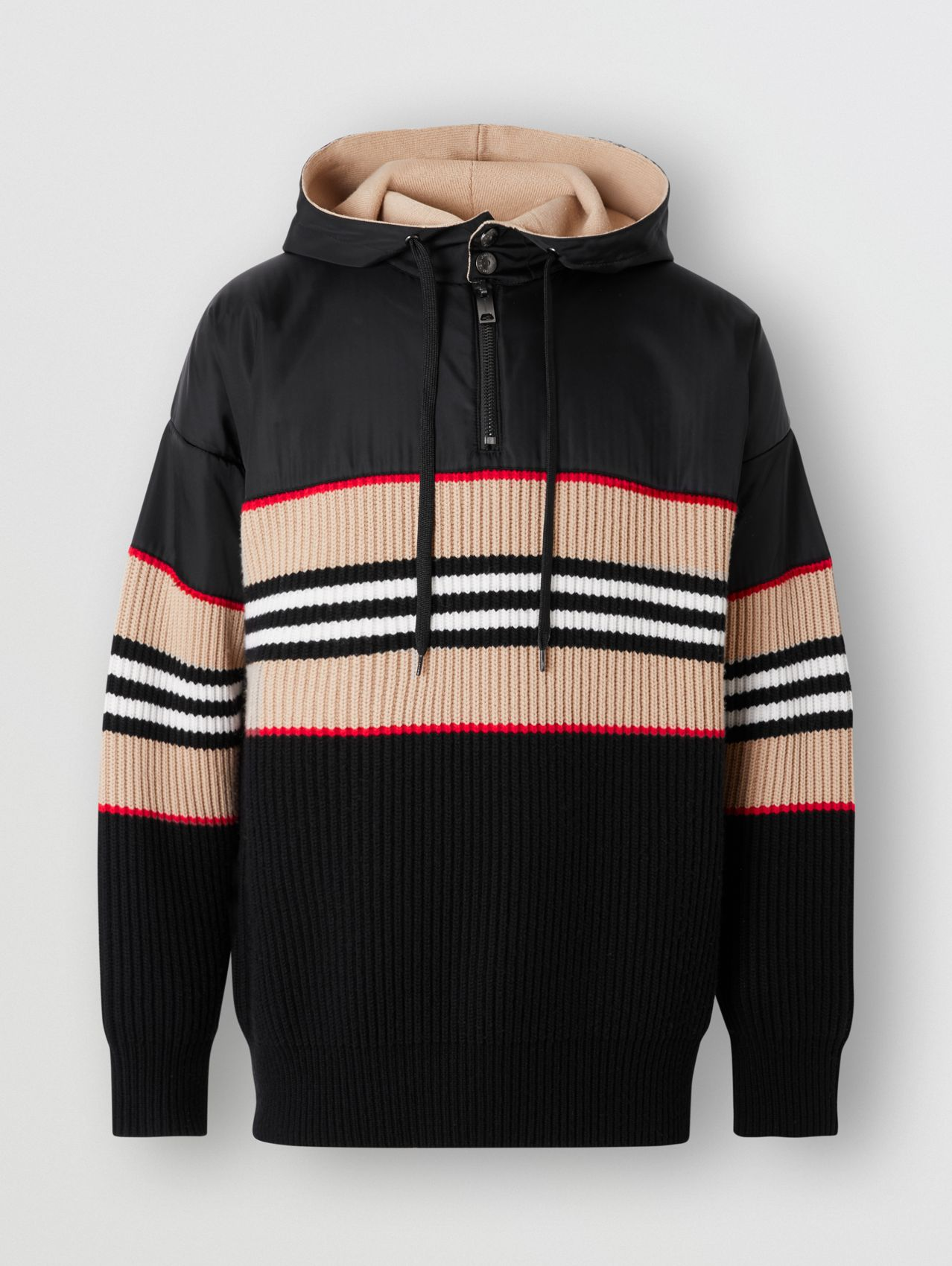 Icon Stripe Rib Knit Wool Cashmere Hoodie