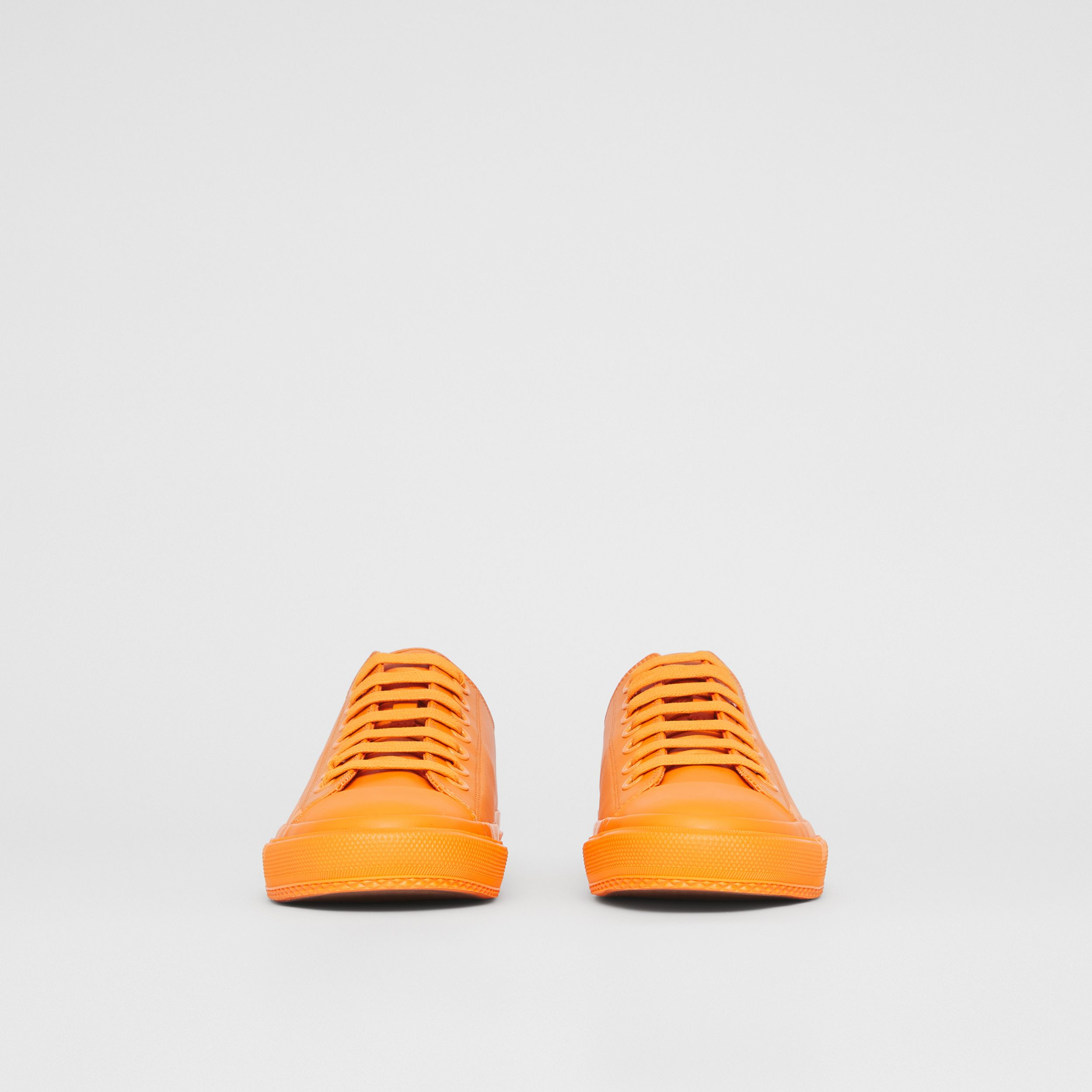 Logo Print Leather Sneakers – Online Exclusive in Deep Orange - Women | Burberry - 3