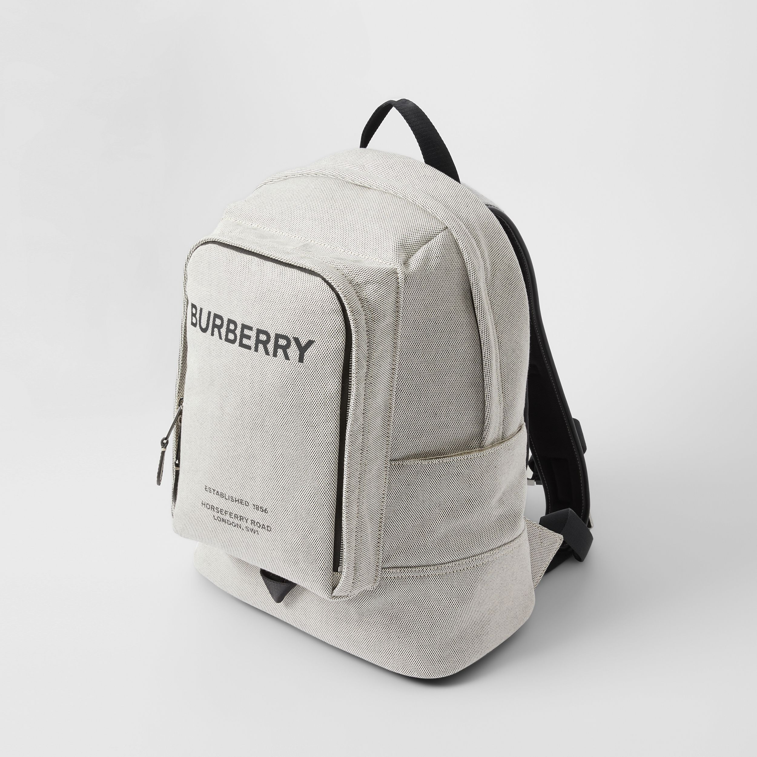 Large Logo Print Cotton Canvas Backpack in Black - Men | Burberry - 4