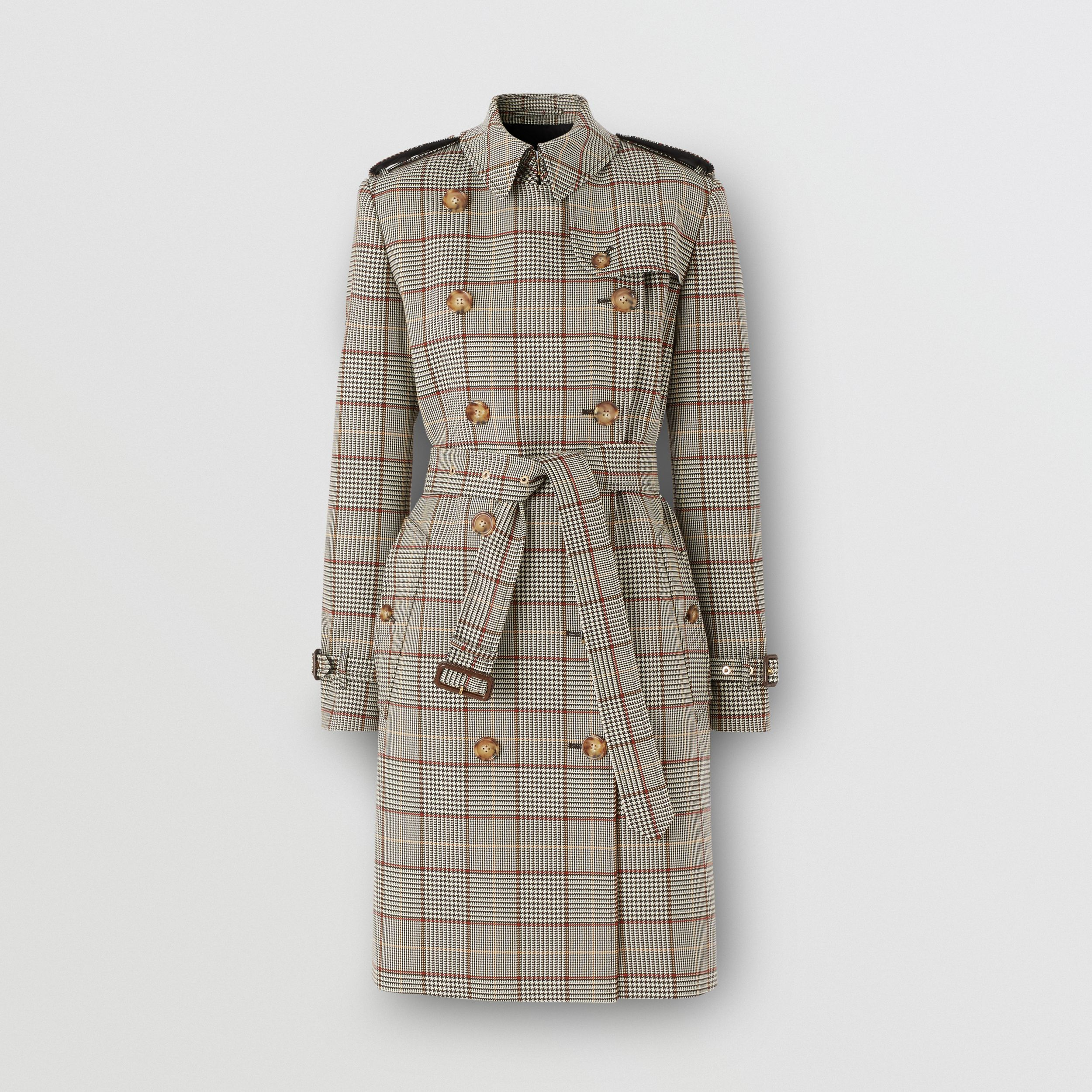 Prince of Wales Check Wool Trench Coat in Clove Brown - Women | Burberry Hong Kong S.A.R. - 4