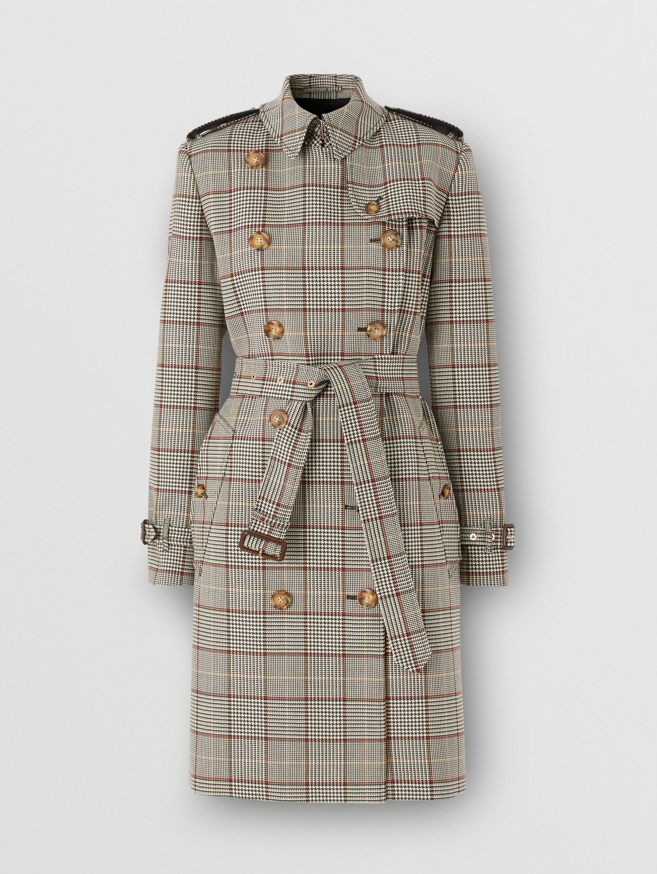 Prince of Wales Check Wool Trench Coat in Clove Brown