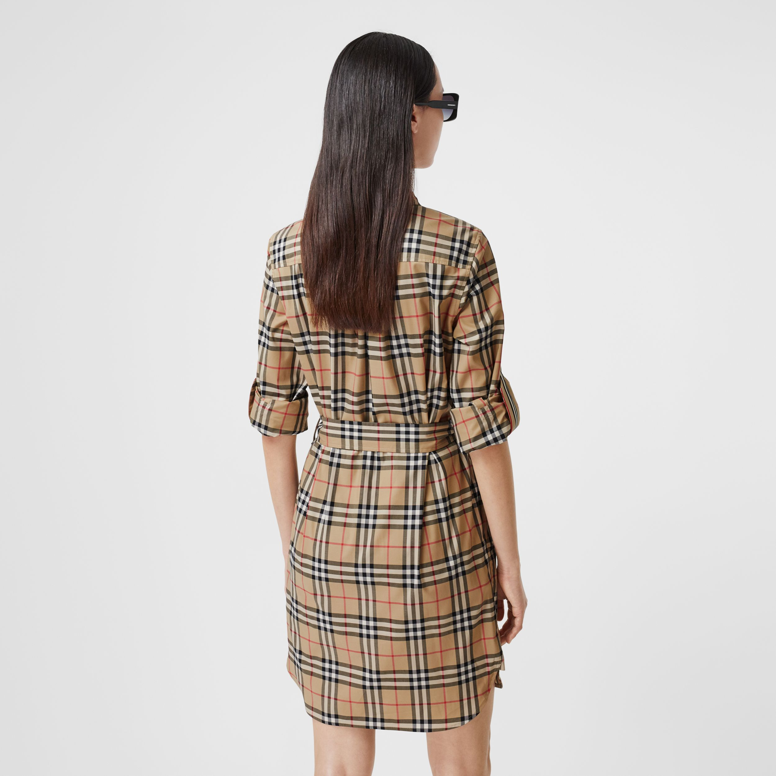 Vintage Check Stretch Cotton Tie-waist Shirt Dress in Archive Beige - Women | Burberry - 3