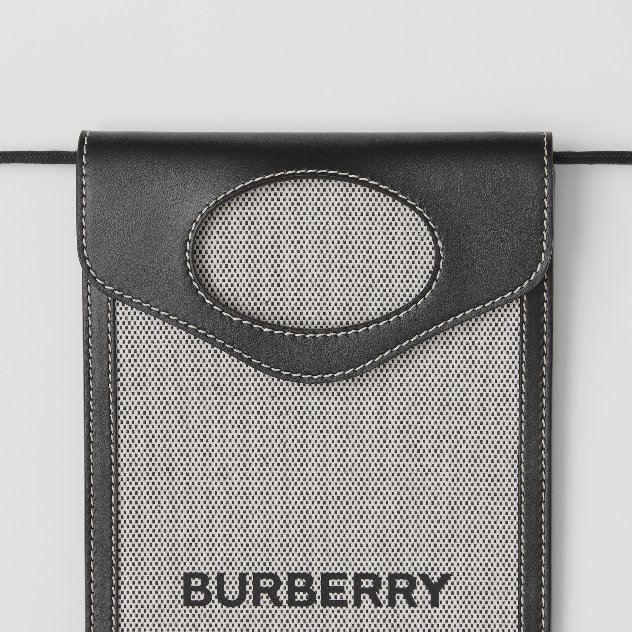 Two-tone Canvas and Leather Pocket Phone Case in Black - Men | Burberry - 2