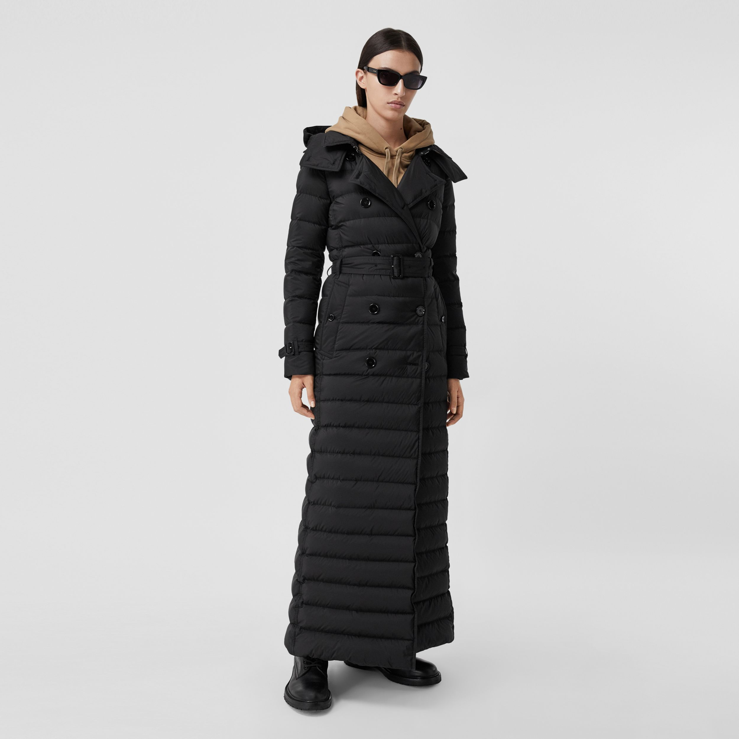 Logo Appliqué Detachable Hood Puffer Coat in Black - Women | Burberry - 3