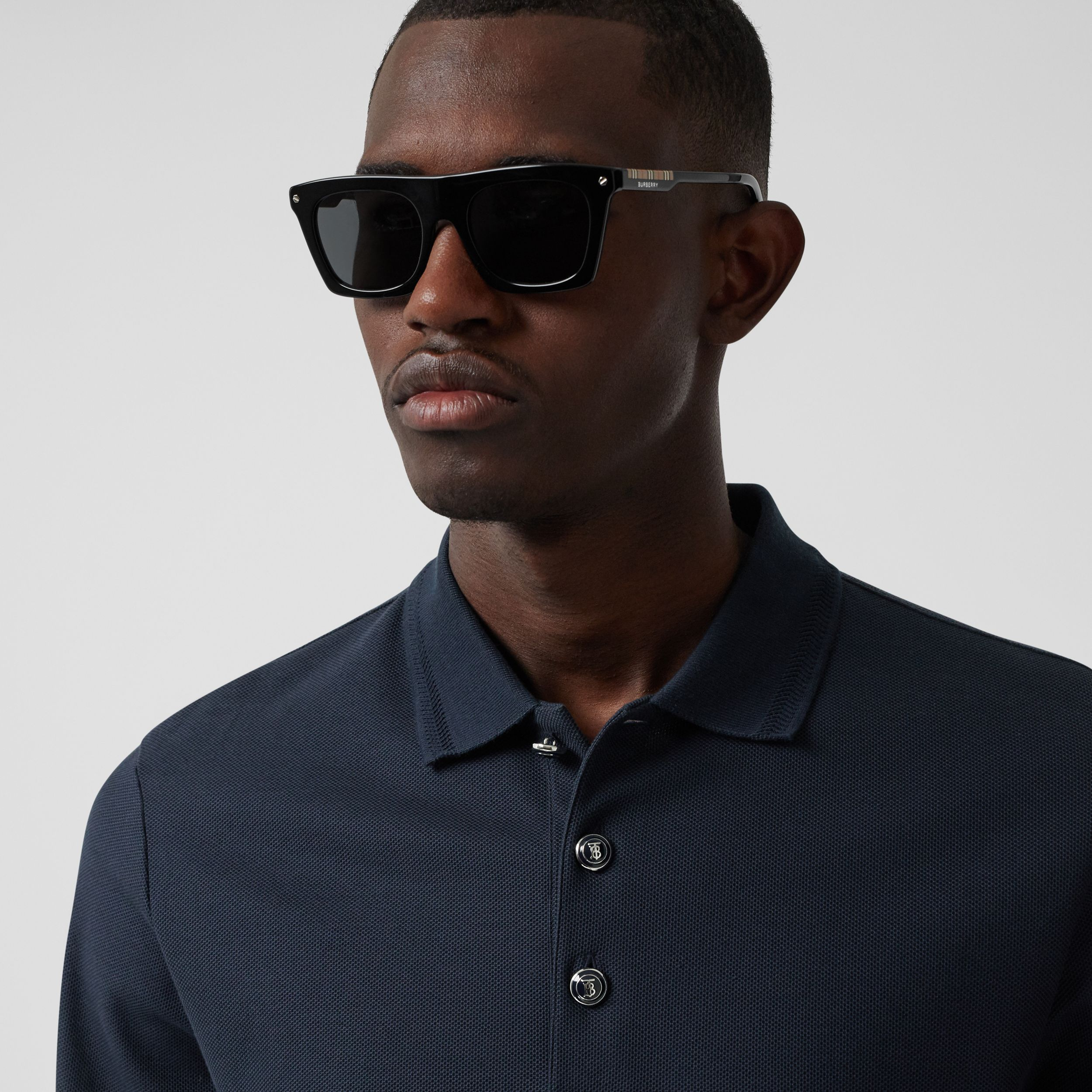 Long-sleeve Cotton Piqué Polo Shirt in Navy - Men | Burberry Canada - 2