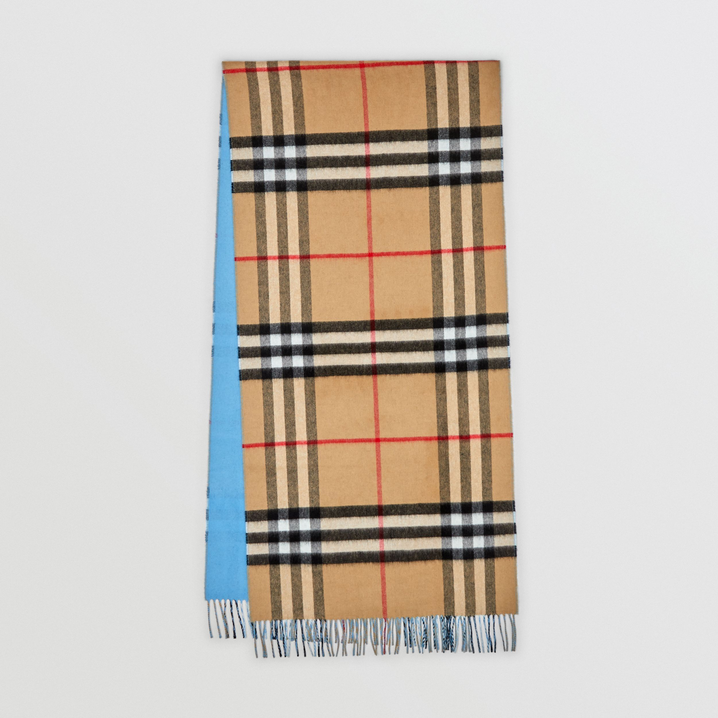 Reversible Check Cashmere Scarf in Blue Topaz | Burberry - 1