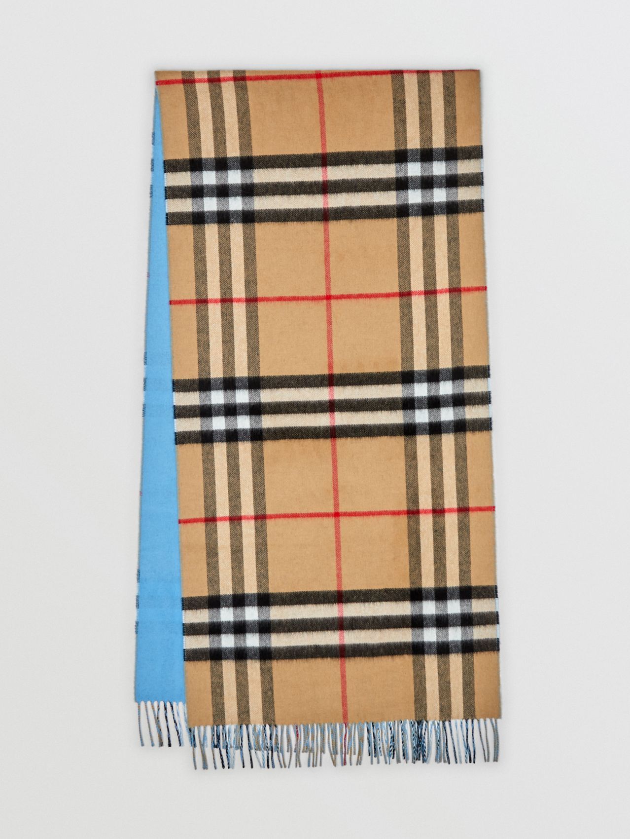 Reversible Check Cashmere Scarf in Blue Topaz