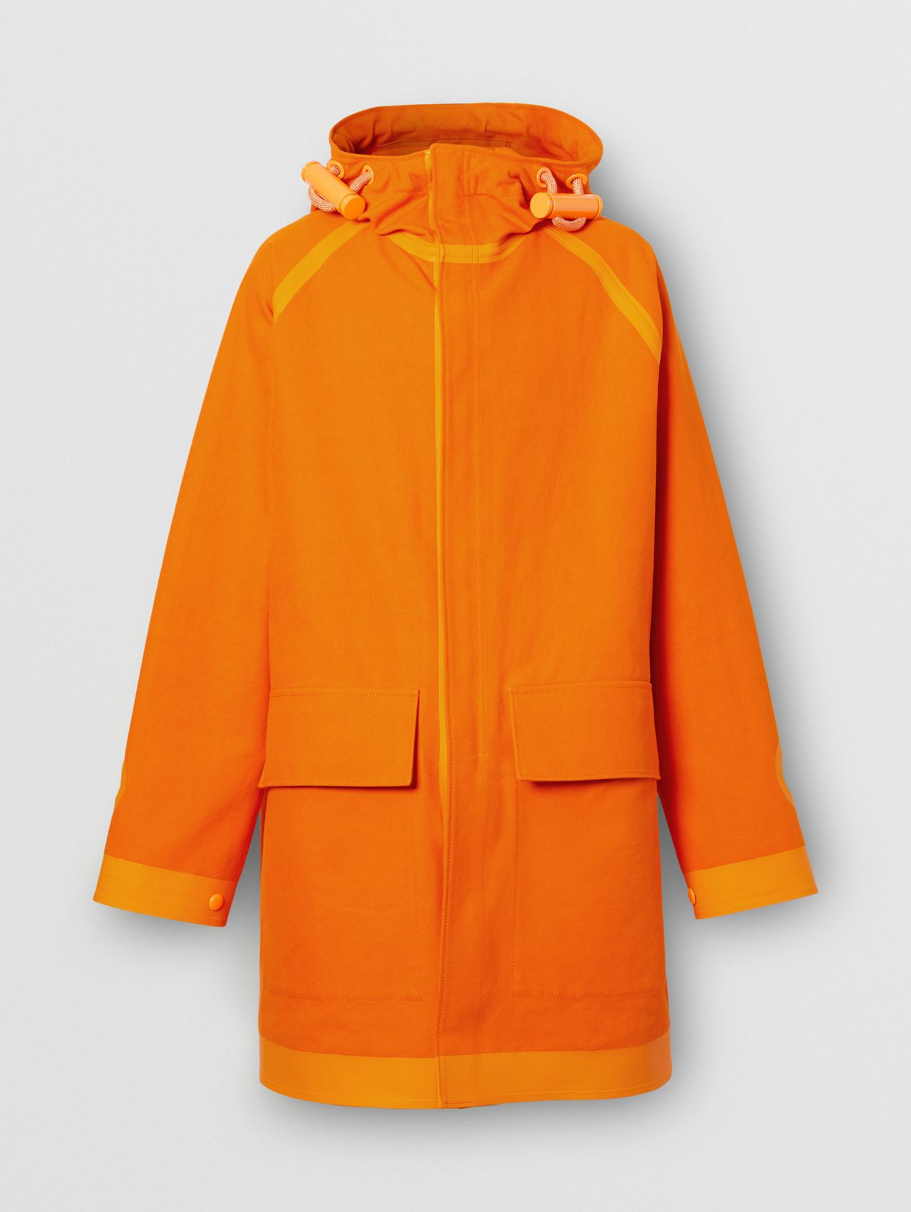 Cut-out Detail Cotton Canvas Parka in Deep Orange