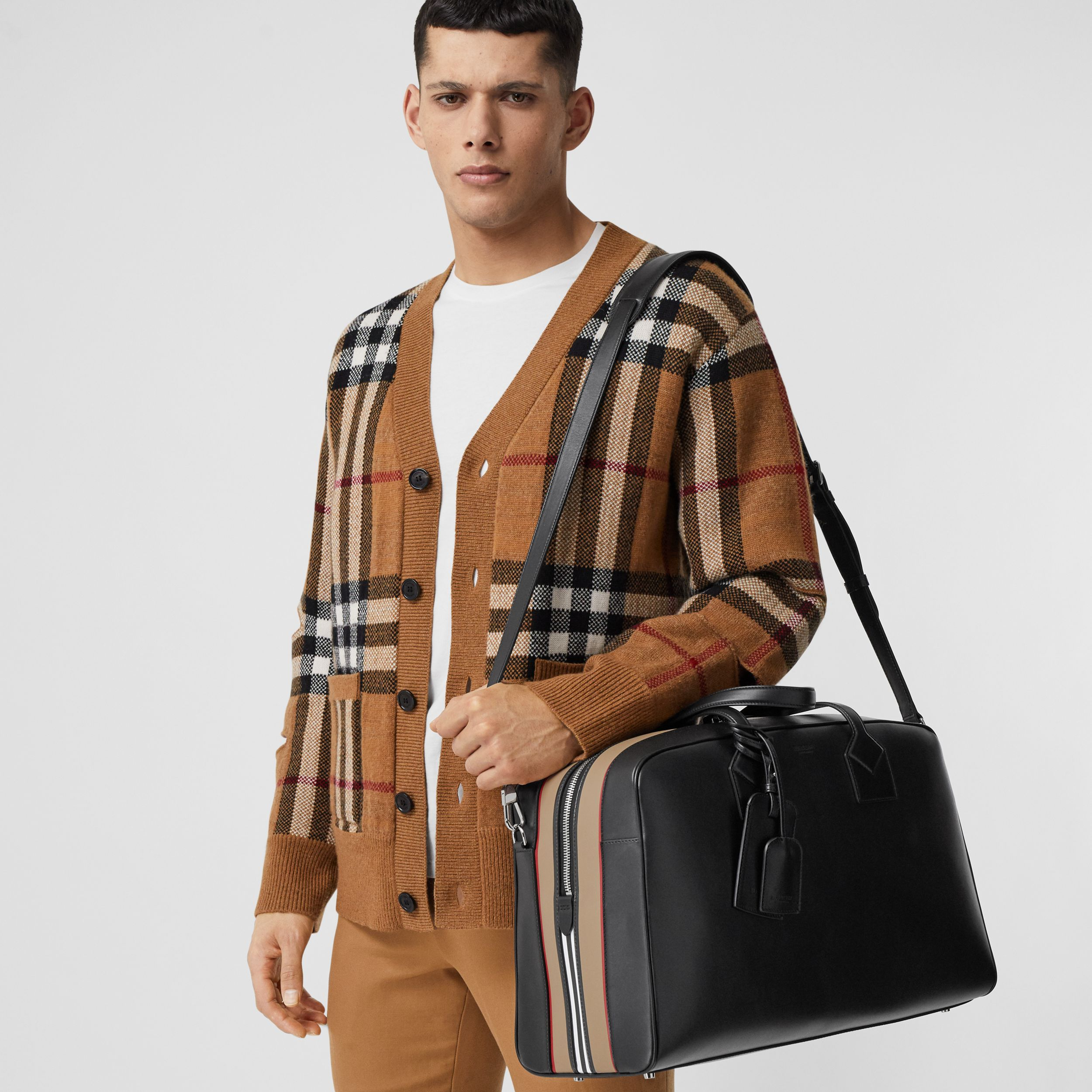 Icon Stripe Print Leather Cube Holdall in Black - Men | Burberry - 3