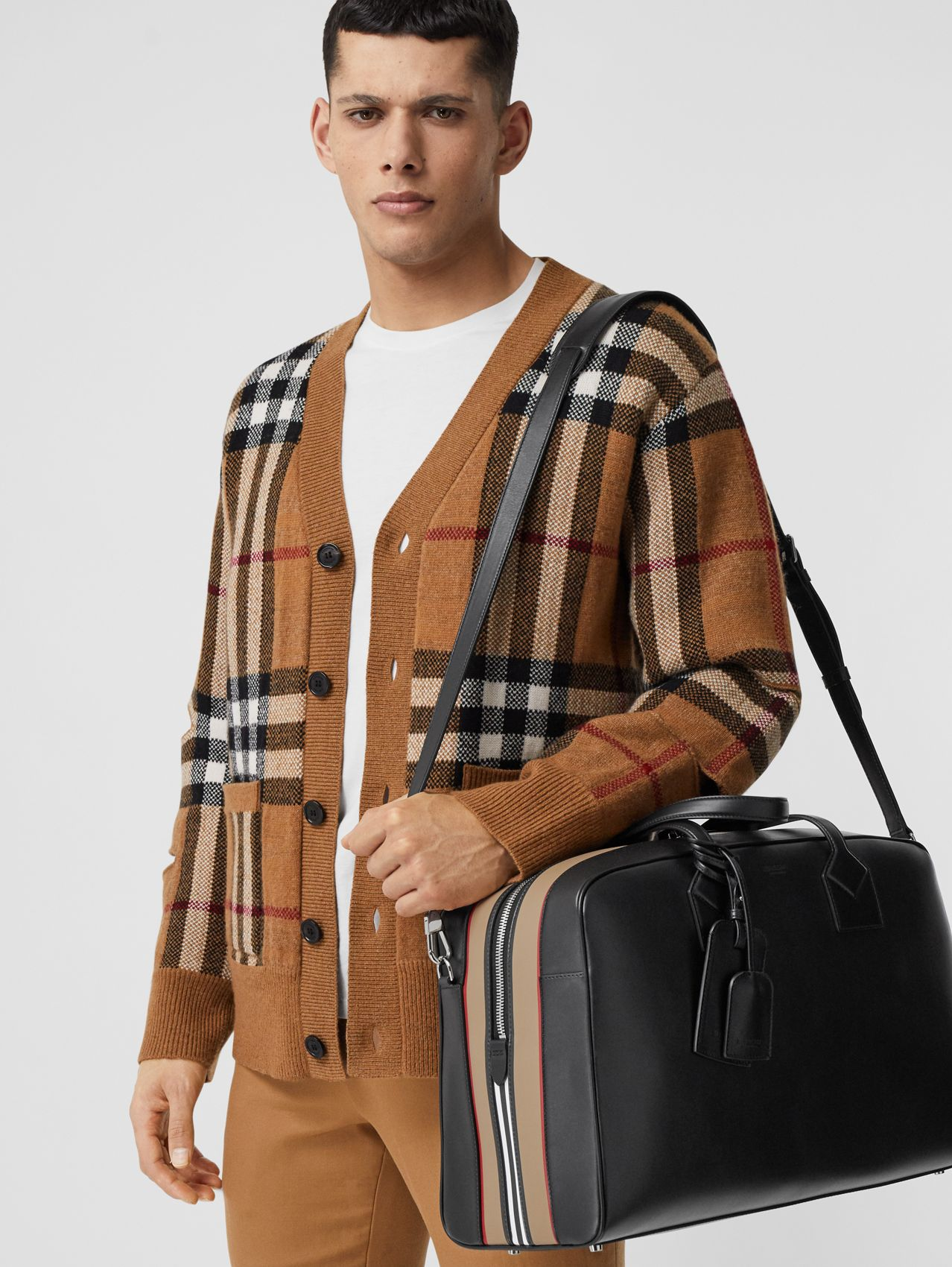Icon Stripe Print Leather Cube Holdall in Black