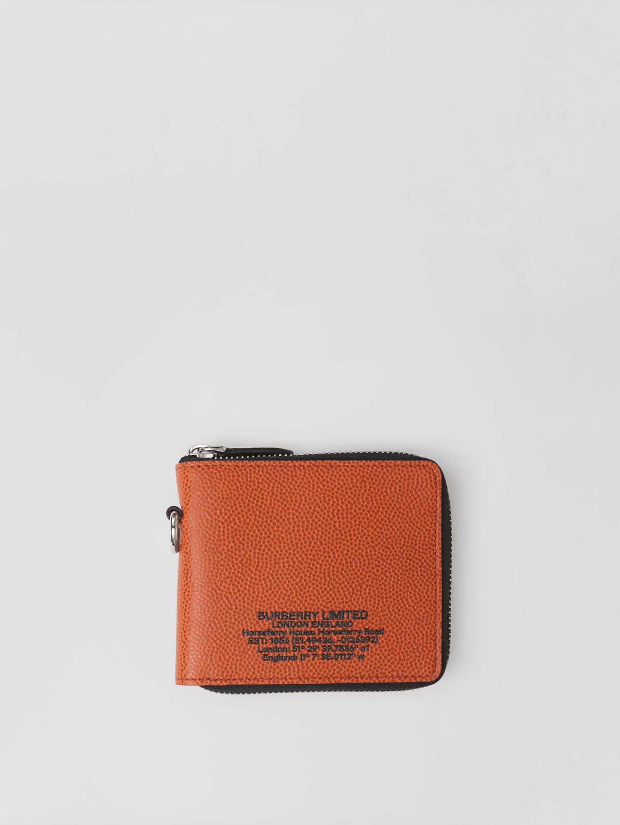 Horseferry Print Grainy Leather Ziparound Wallet Lanyard in Earthy Orange