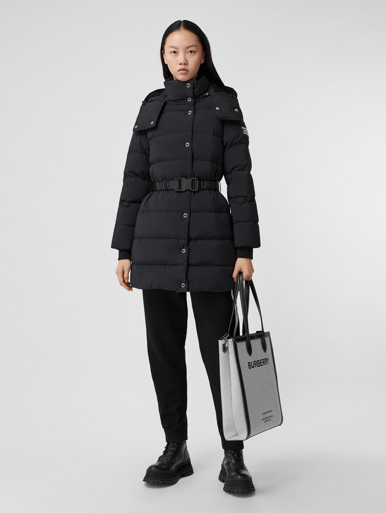 Detachable Hood Belted Puffer Coat in Black