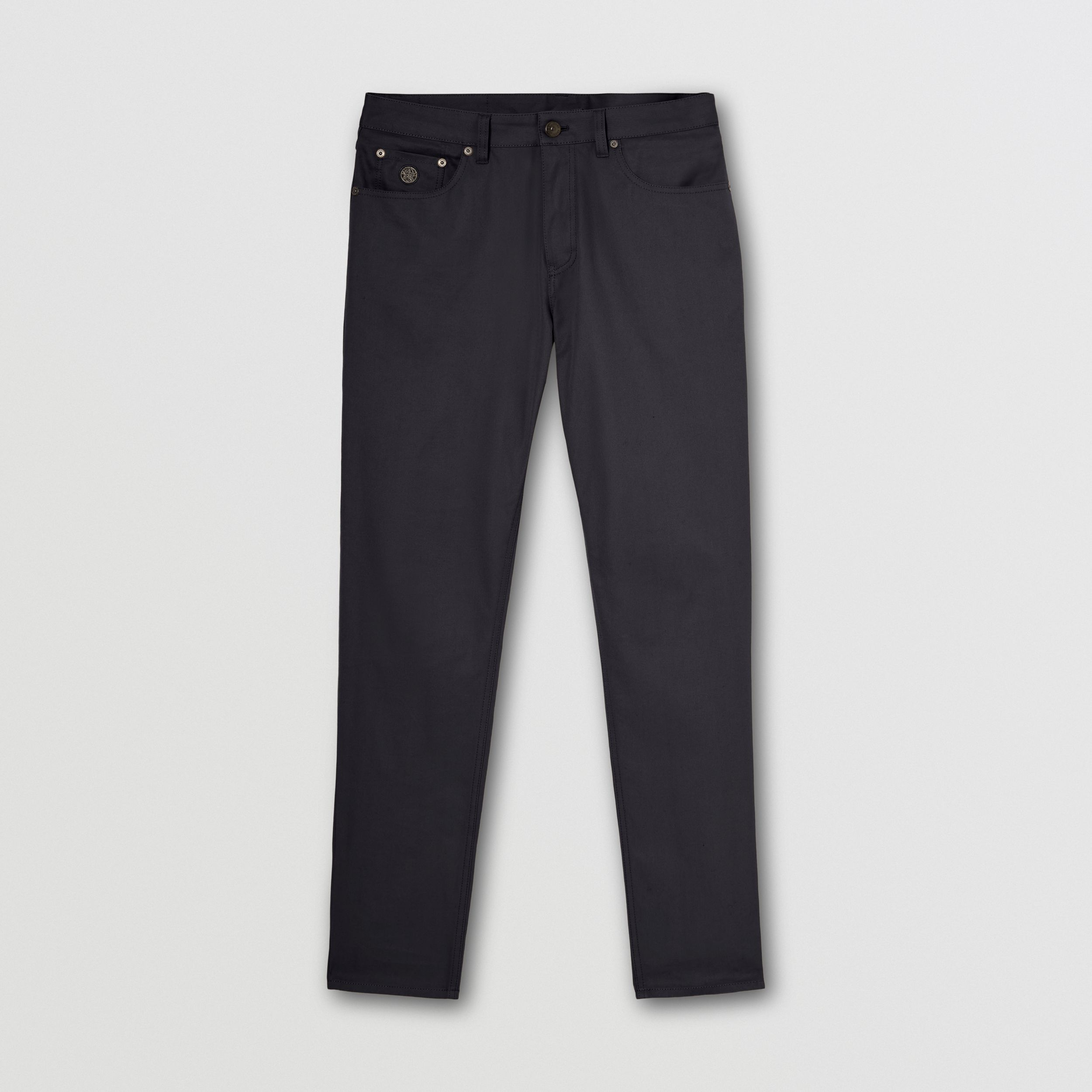 Slim Fit Cotton Chinos in Navy - Men | Burberry - 4