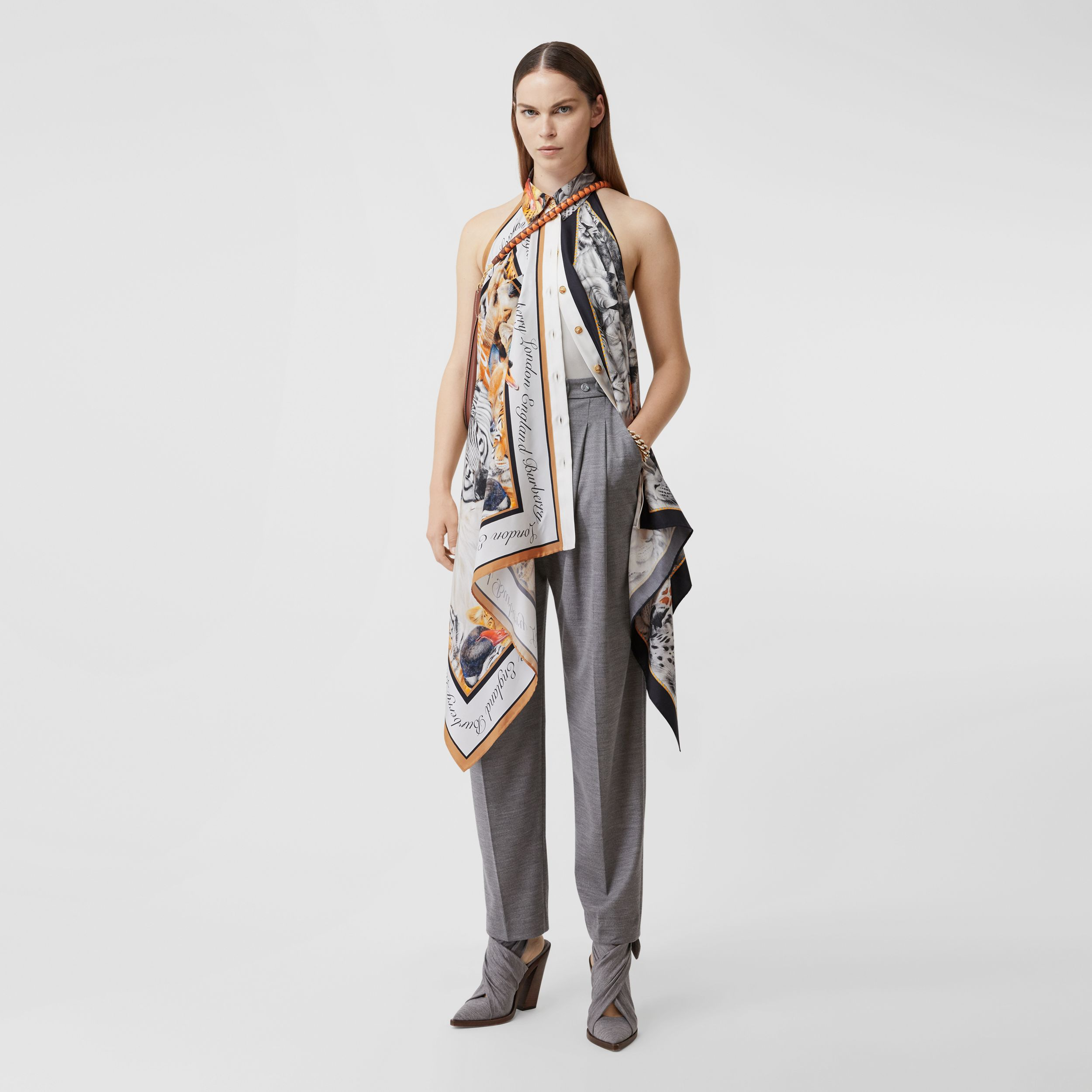 Animalia Print Silk Scarf Panel Bodysuit in Grey Melange - Women | Burberry - 1
