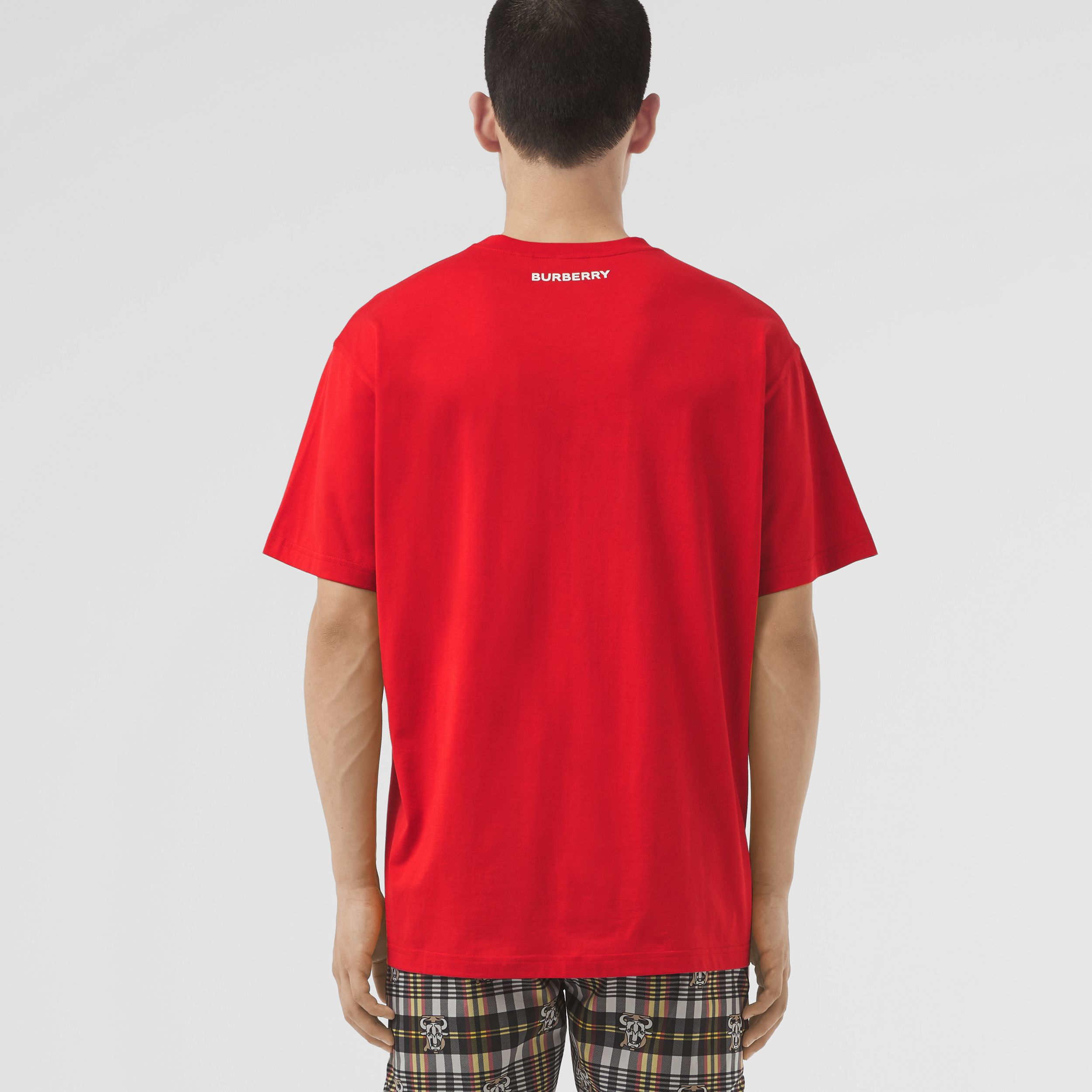 Montage Print Cotton T-shirt – Unisex in Bright Red | Burberry - 3