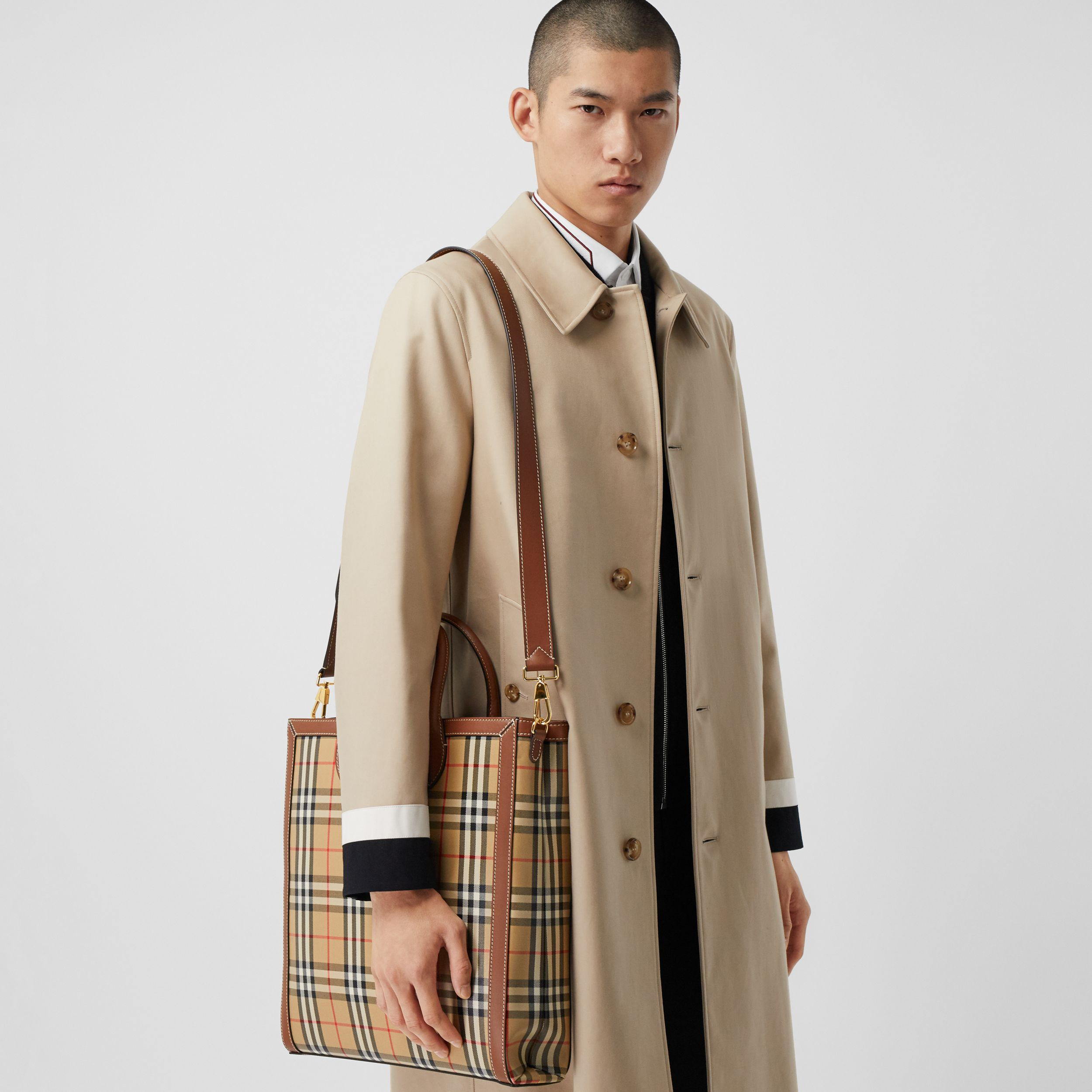 Medium Vintage Check Coated Canvas Tote in Archive Beige - Men | Burberry - 4