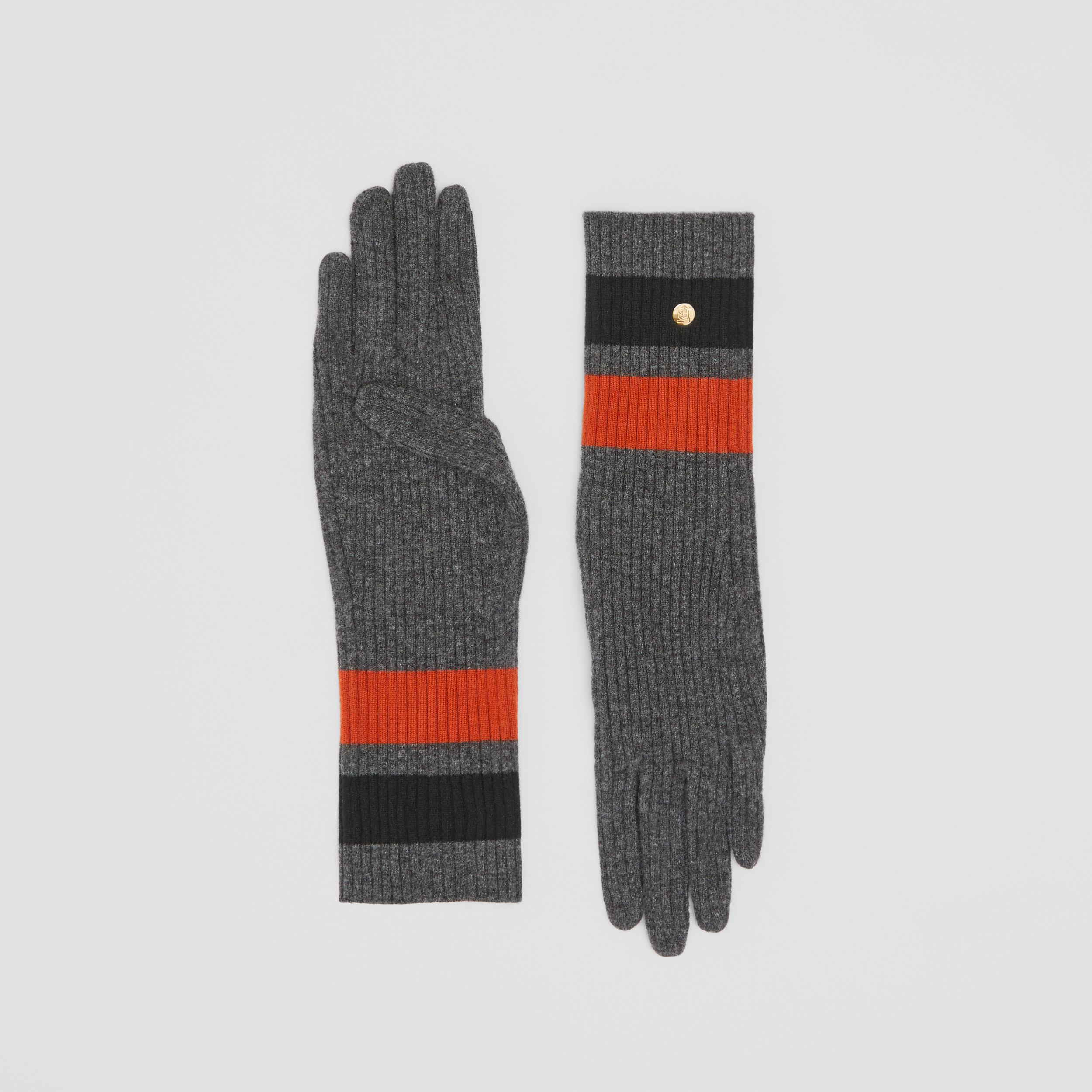 Monogram Motif Merino Wool Cashmere Gloves in Dark Grey | Burberry - 1