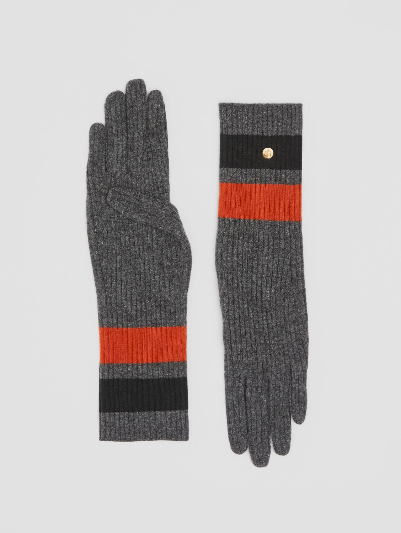 Monogram Motif Merino Wool Cashmere Gloves in Dark Grey