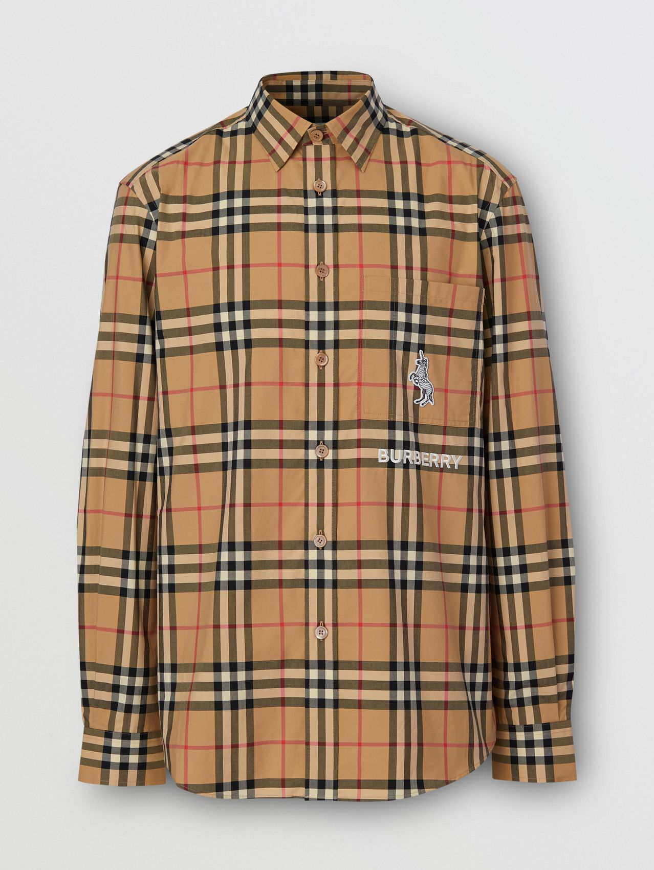 Classic Fit Zebra Appliqué Check Cotton Shirt in Archive Beige