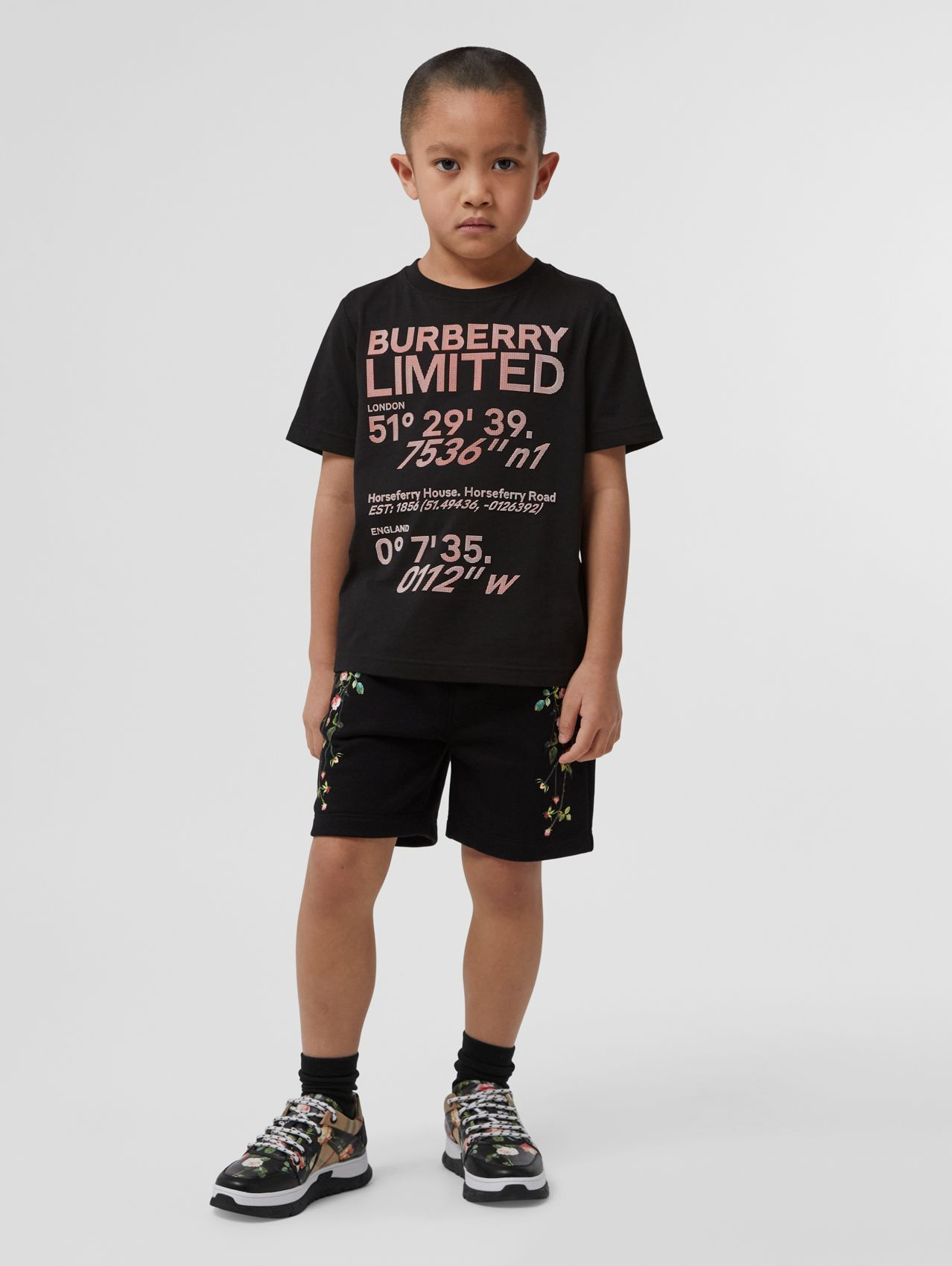 Coordinates Print Cotton T-shirt in Black