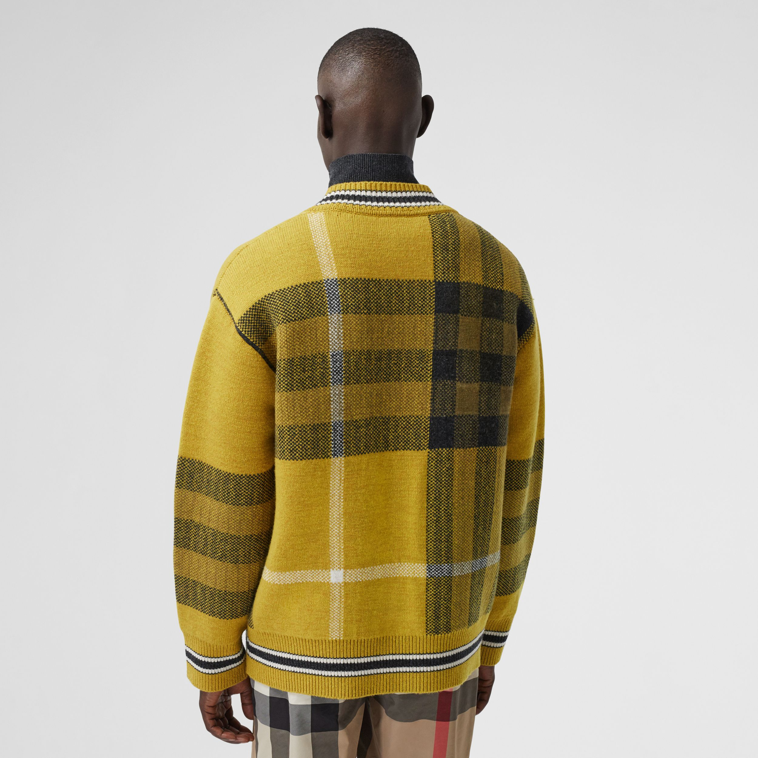 Check Wool Cashmere Jacquard Sweater in Bright Yellow - Men | Burberry - 3