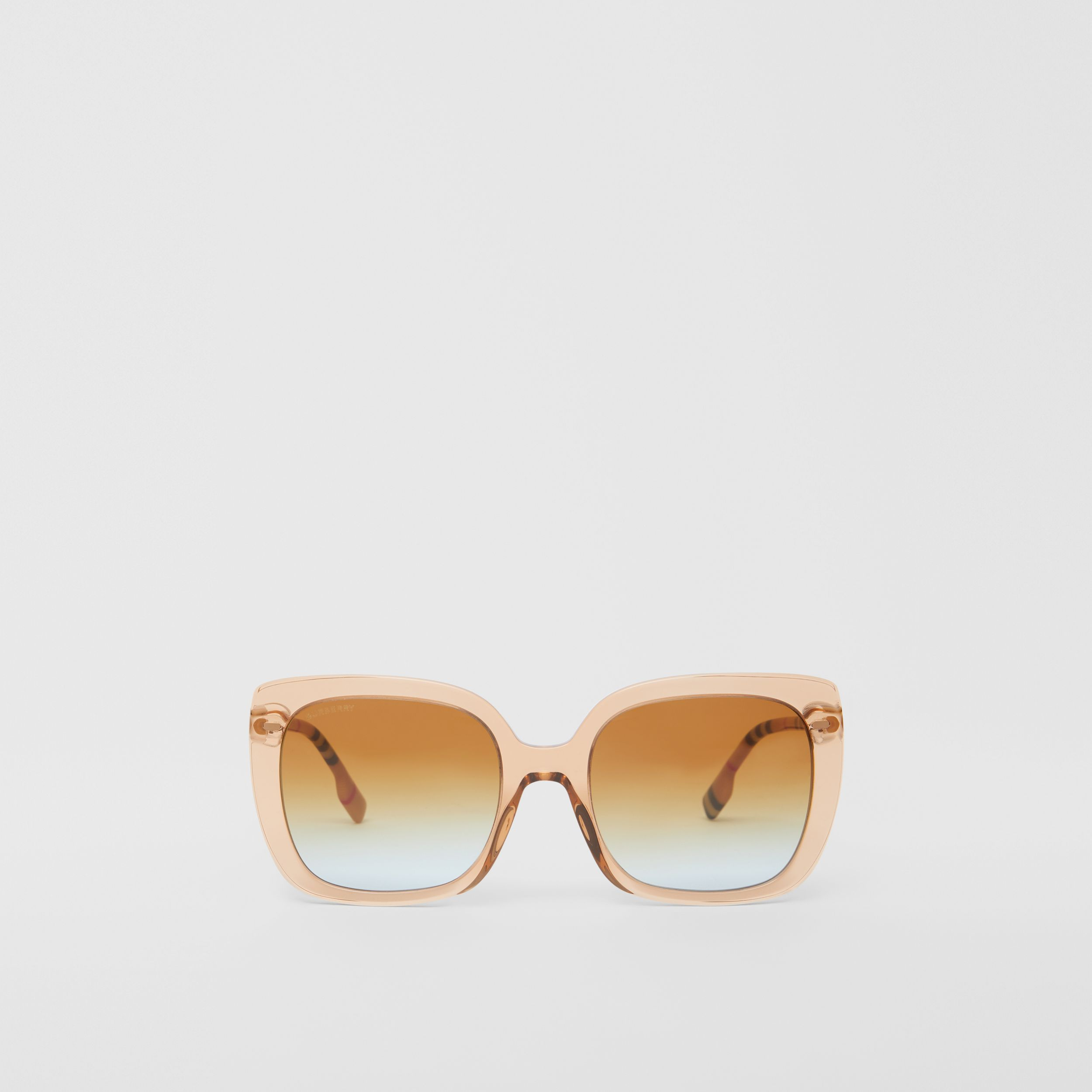 Oversized Square Frame Sunglasses in Peach - Women | Burberry - 1