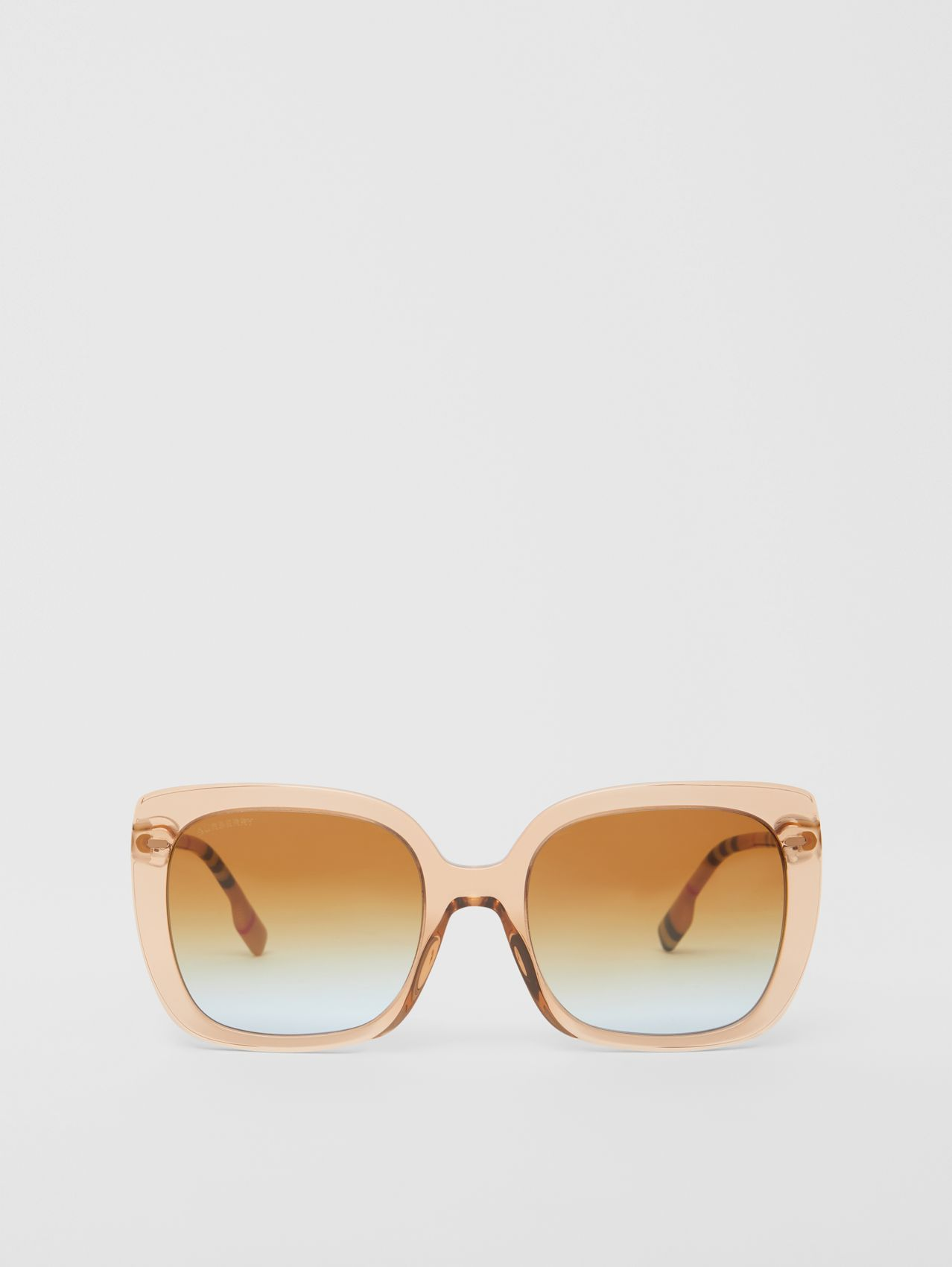Oversized Square Frame Sunglasses in Peach