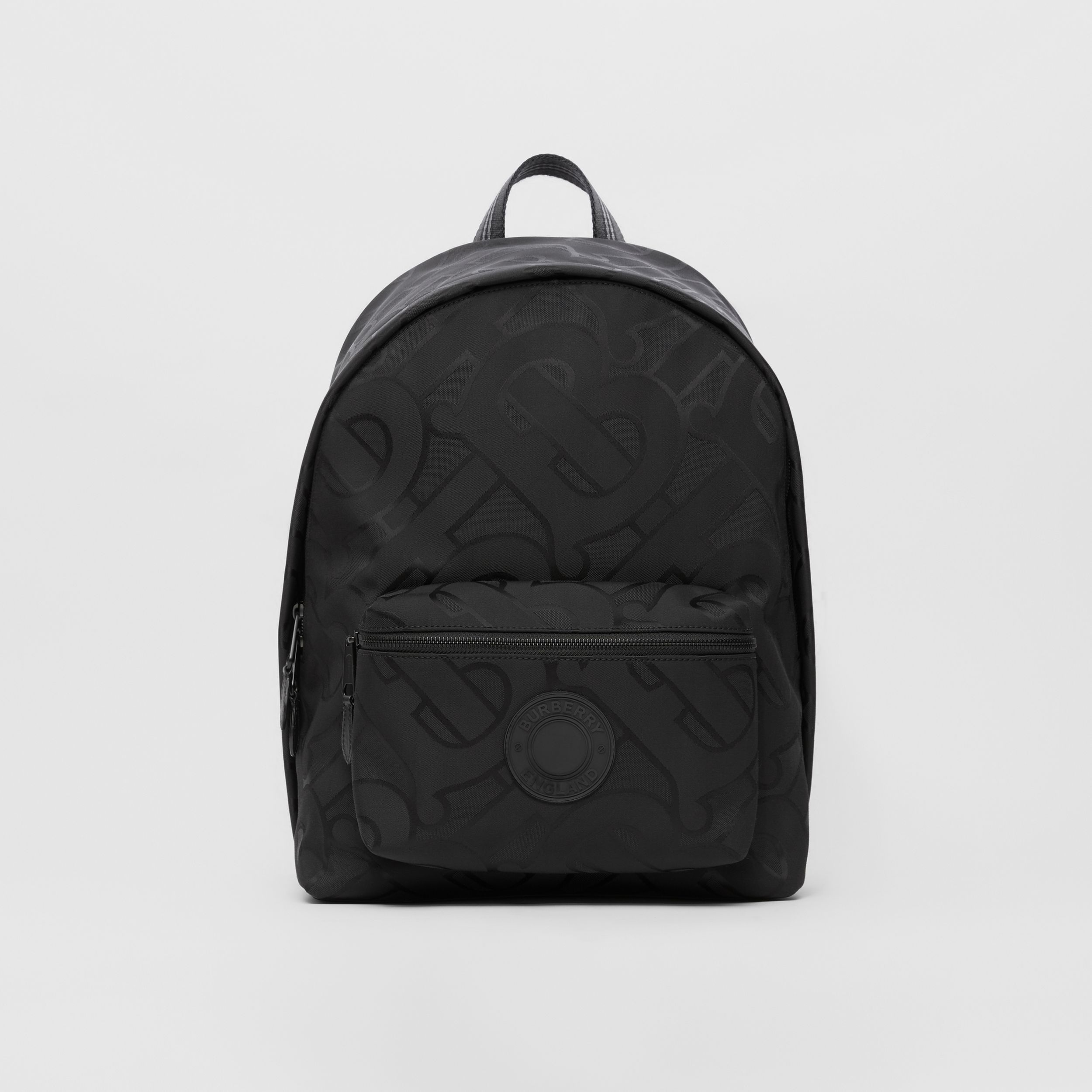Monogram Recycled Polyester Jacquard Backpack in Black - Men | Burberry Singapore - 1