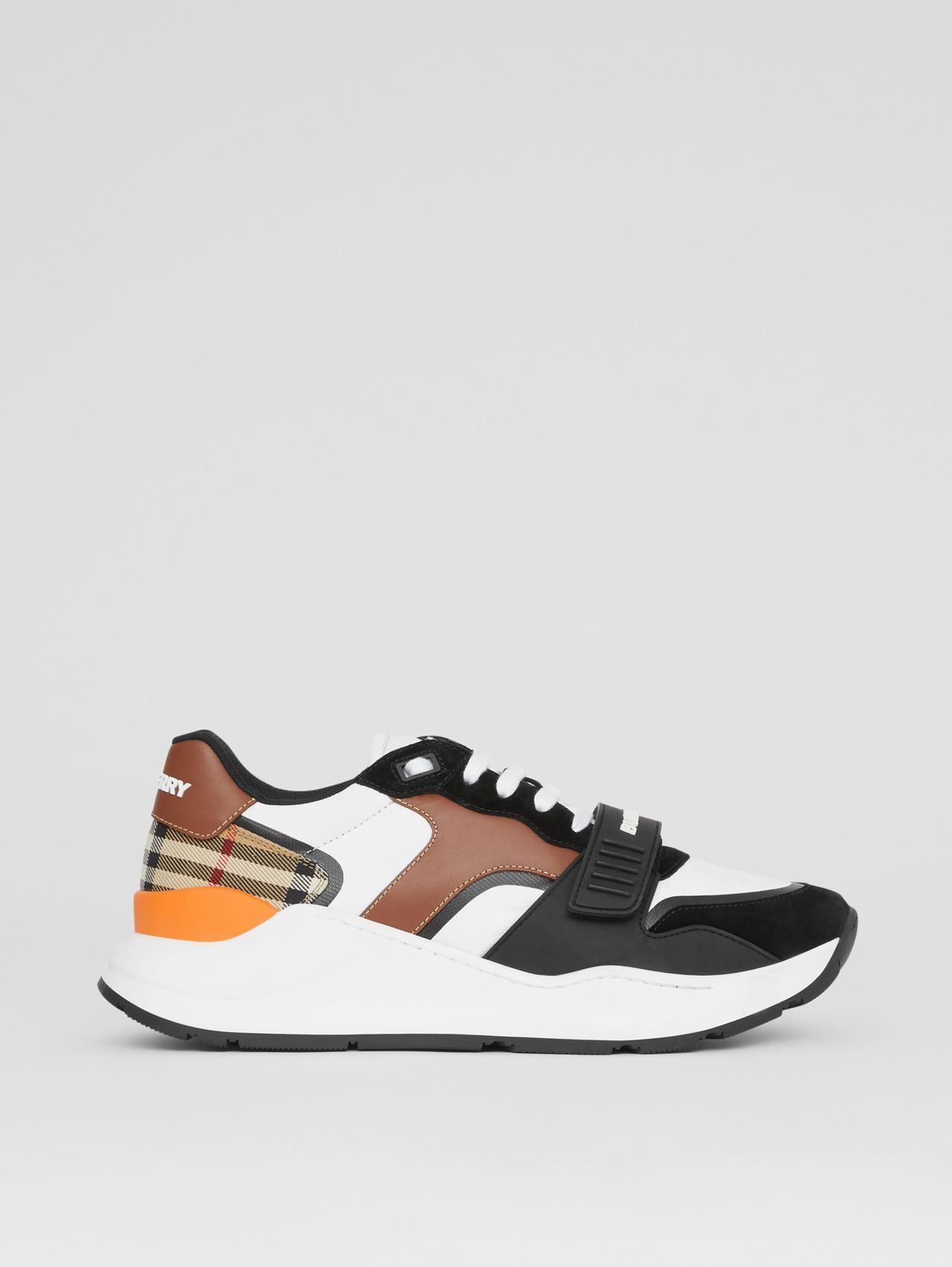 Leather, Suede and Vintage Check Sneakers in Black/archive Beige