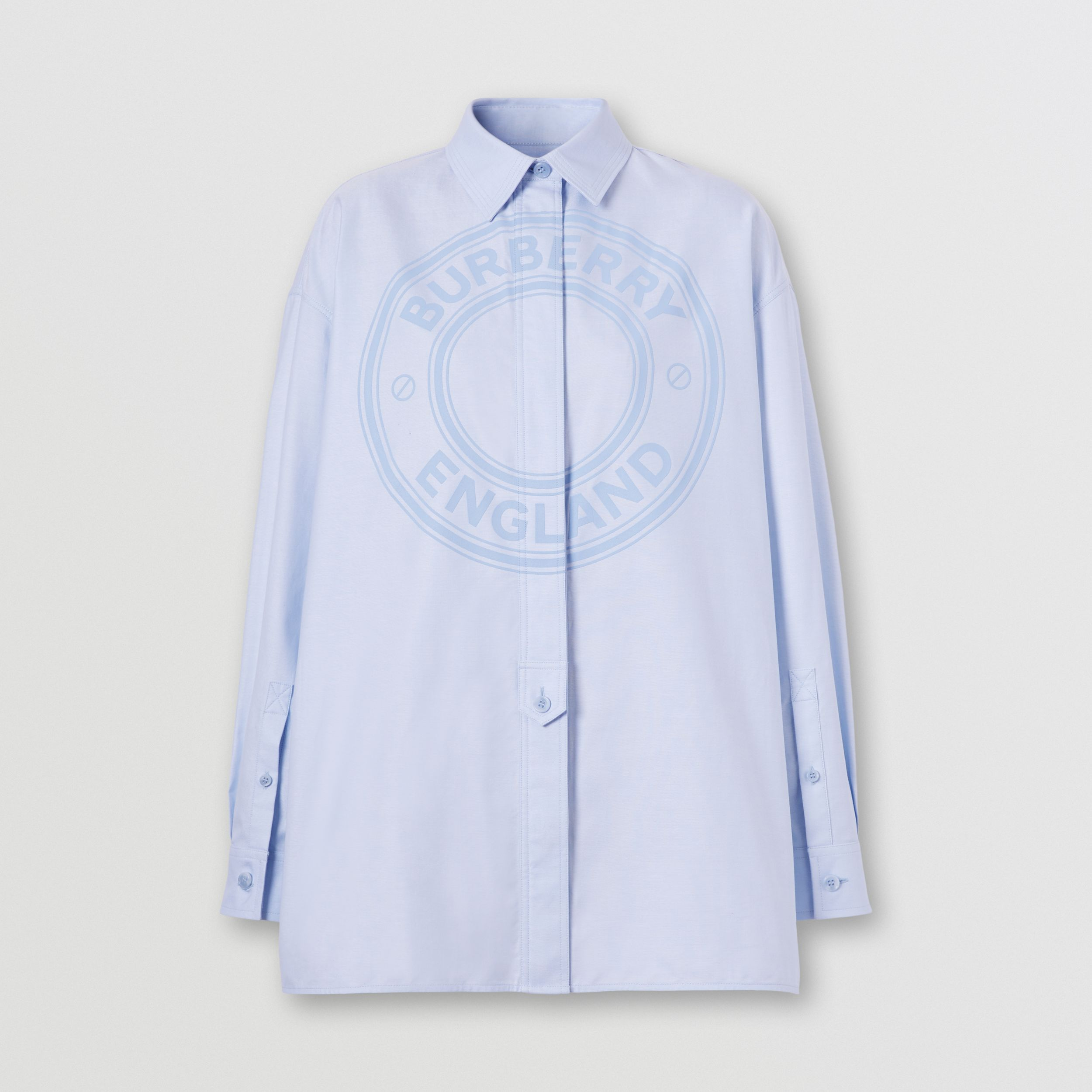 Logo Graphic Cotton Oxford Oversized Shirt in Pale Blue - Women | Burberry United Kingdom - 4