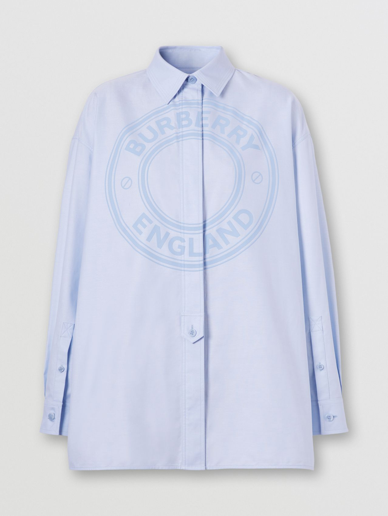 Logo Graphic Cotton Oxford Oversized Shirt in Pale Blue