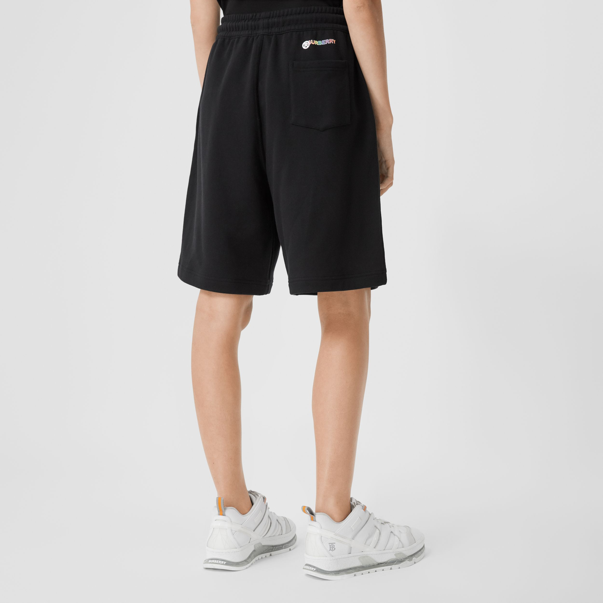 Rainbow Appliqué Cotton Drawcord Shorts – Unisex in Black | Burberry United Kingdom - 3