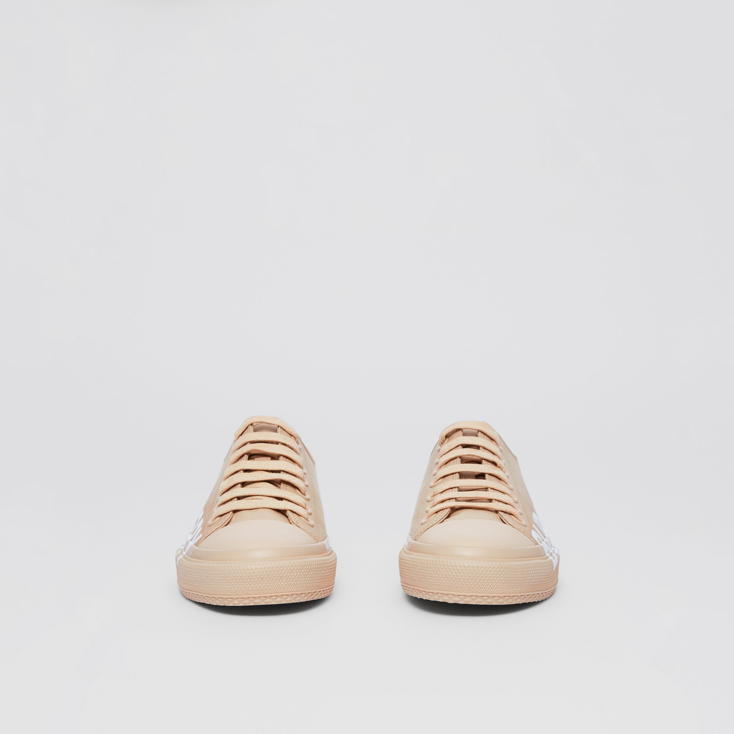 Logo Print Cotton Gabardine Sneakers in Light Almond - Women | Burberry - 3