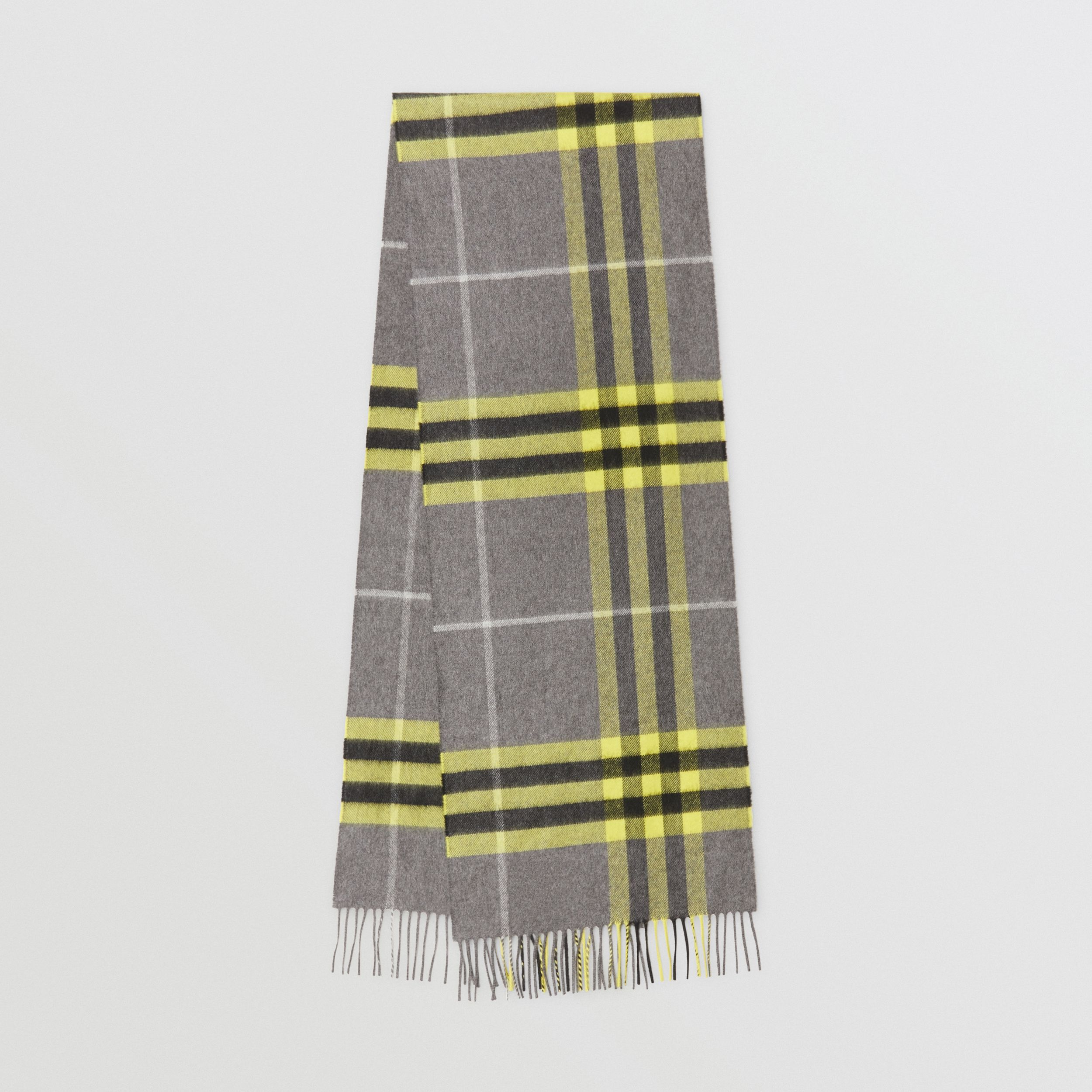 The Classic Check Cashmere Scarf in Charcoal/yellow | Burberry - 1