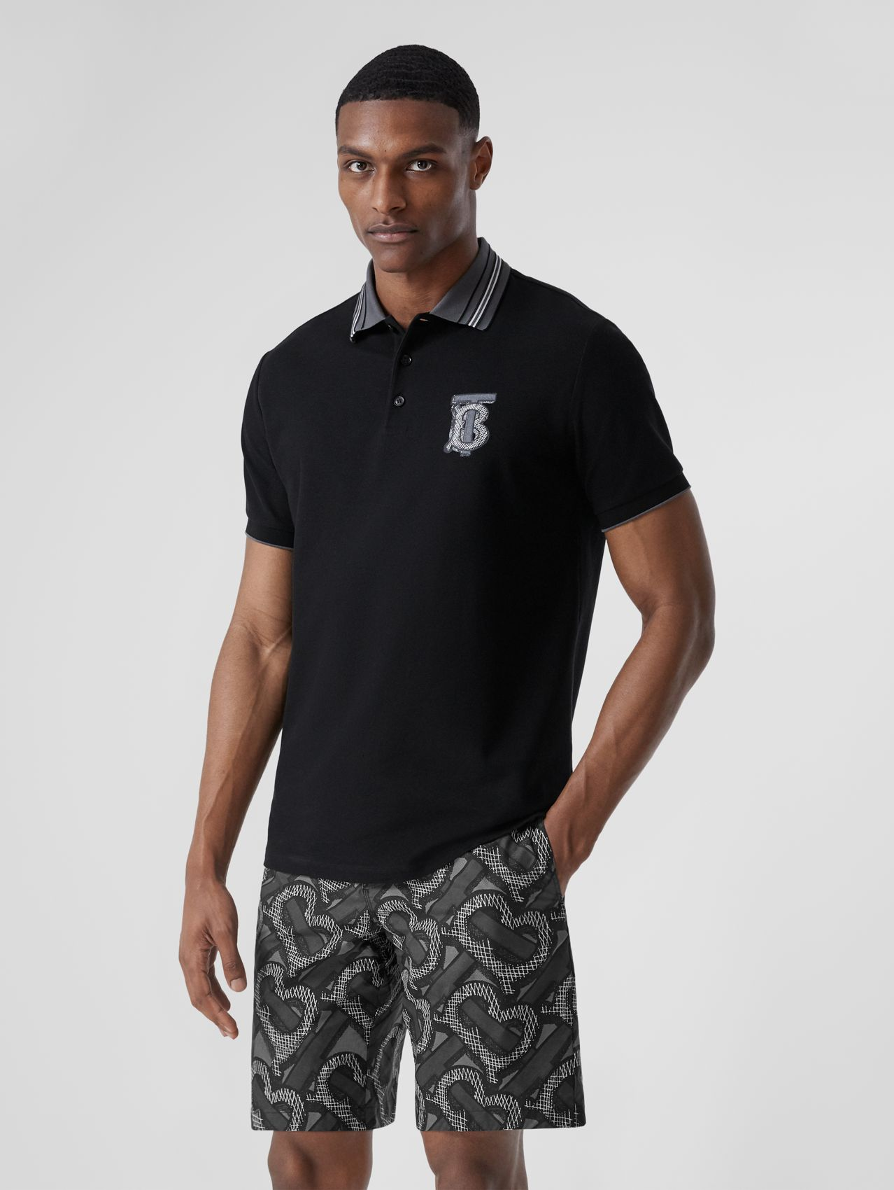 Monogram Motif Cotton Piqué Polo Shirt – Unisex in Black