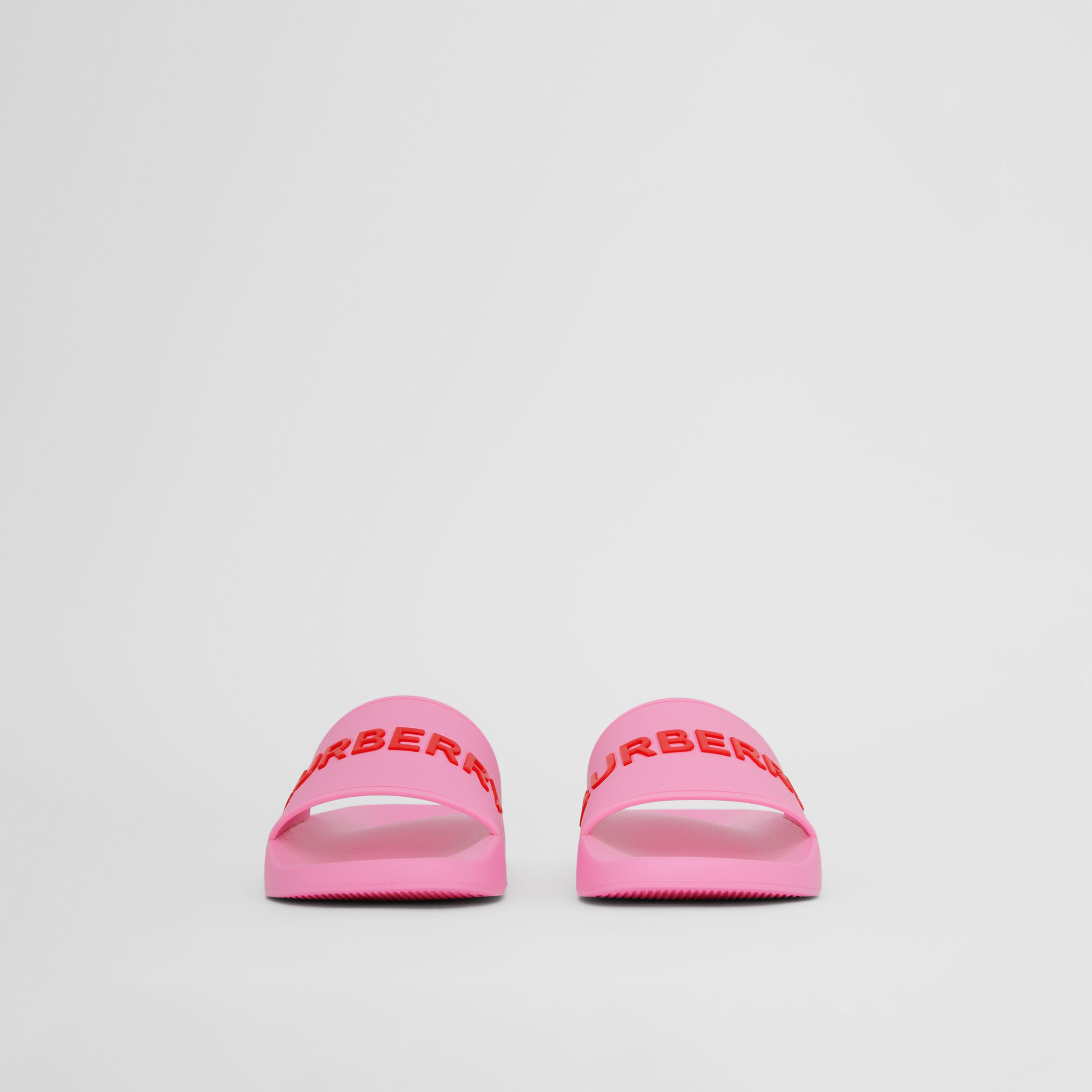 Logo Detail Slides in Bubblegum Pink - Women | Burberry - 3