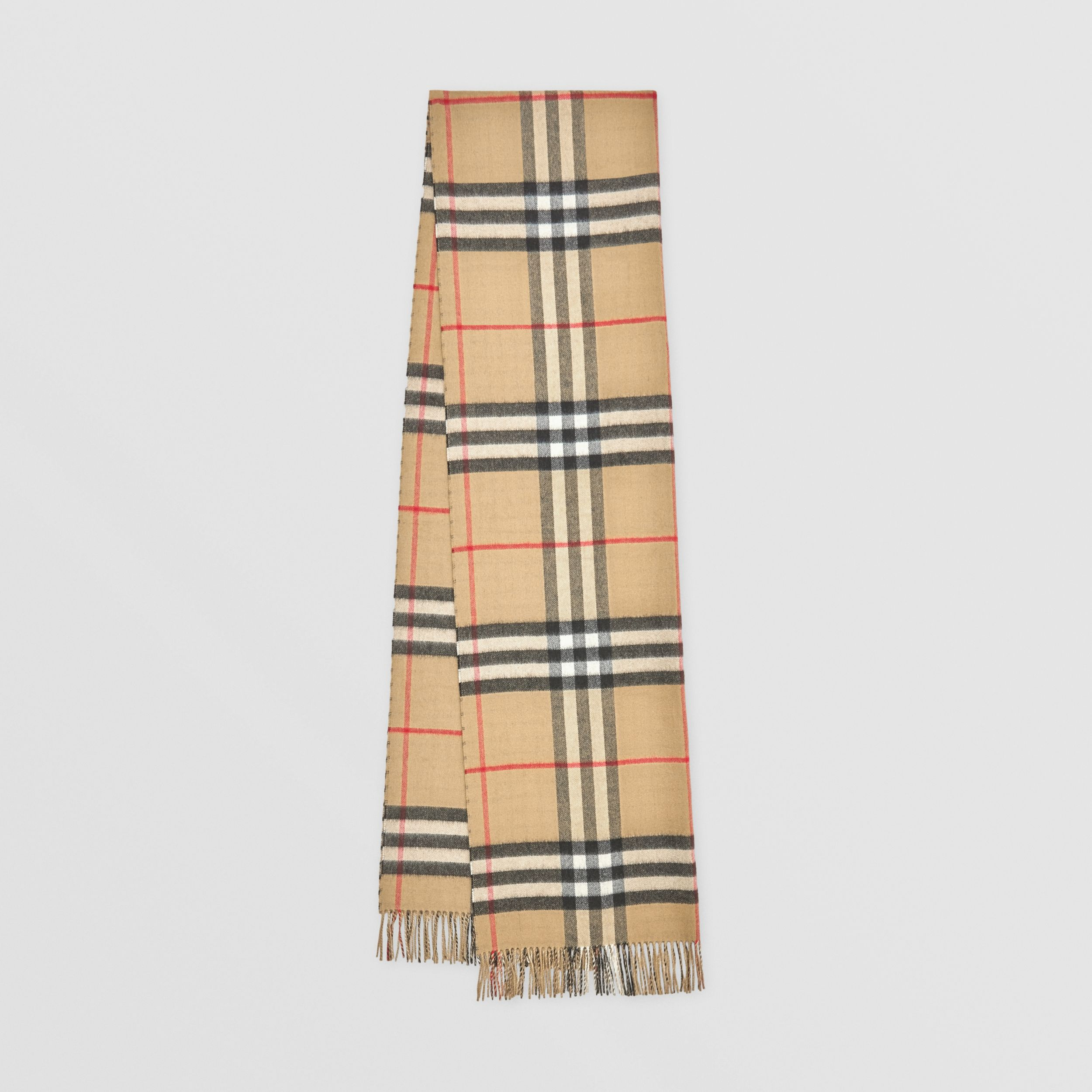 Reversible Contrast Check Cashmere Scarf in Archive Beige | Burberry - 1