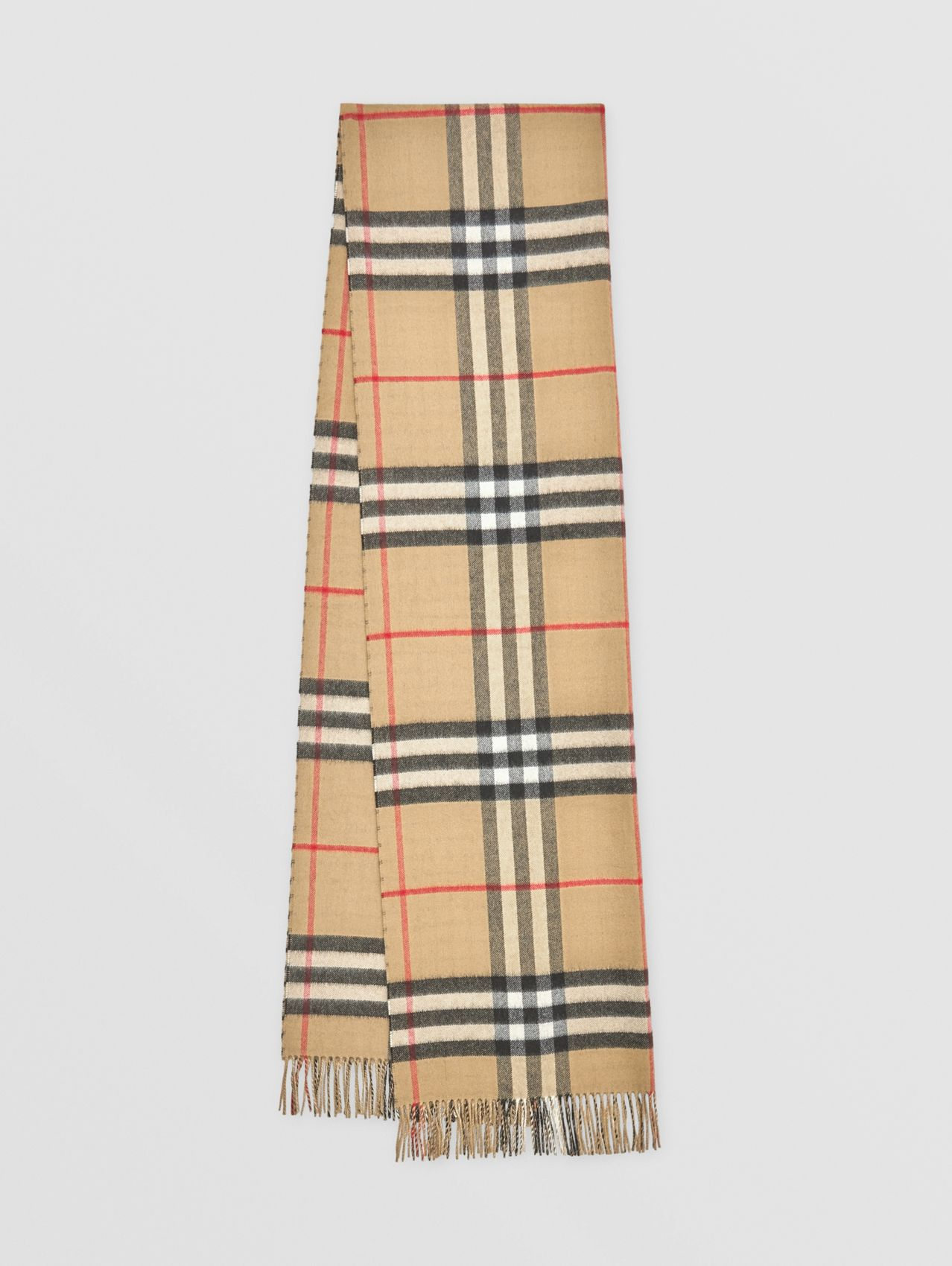 Reversible Contrast Check Cashmere Scarf in Archive Beige