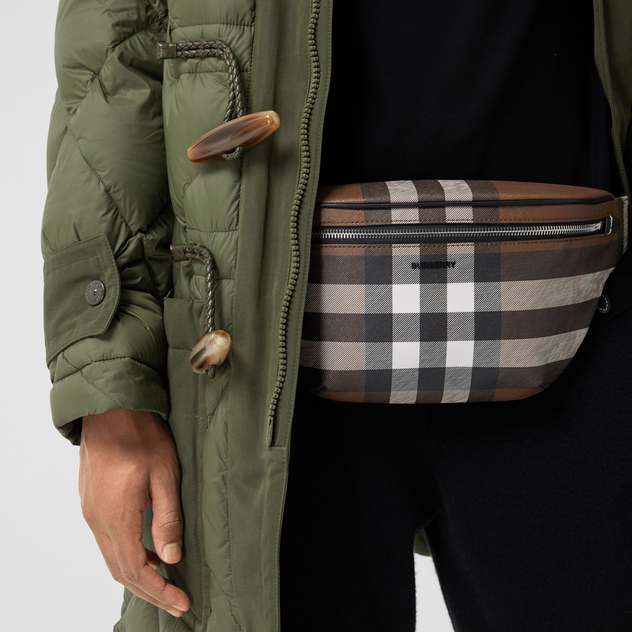 Check E-canvas Bum Bag in Dark Birch Brown | Burberry - 3