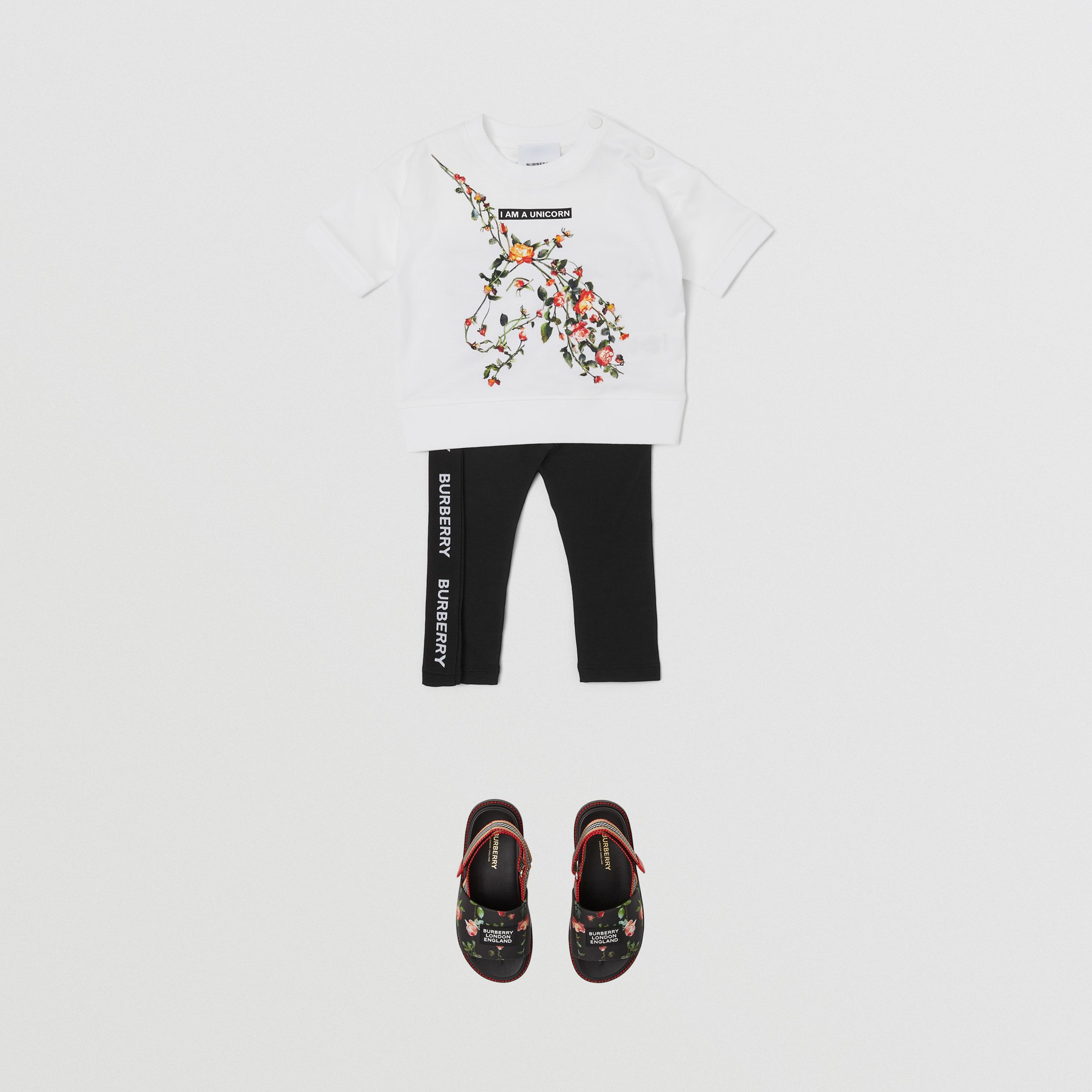 Montage Print Cotton T-shirt in White - Children | Burberry United Kingdom - 3